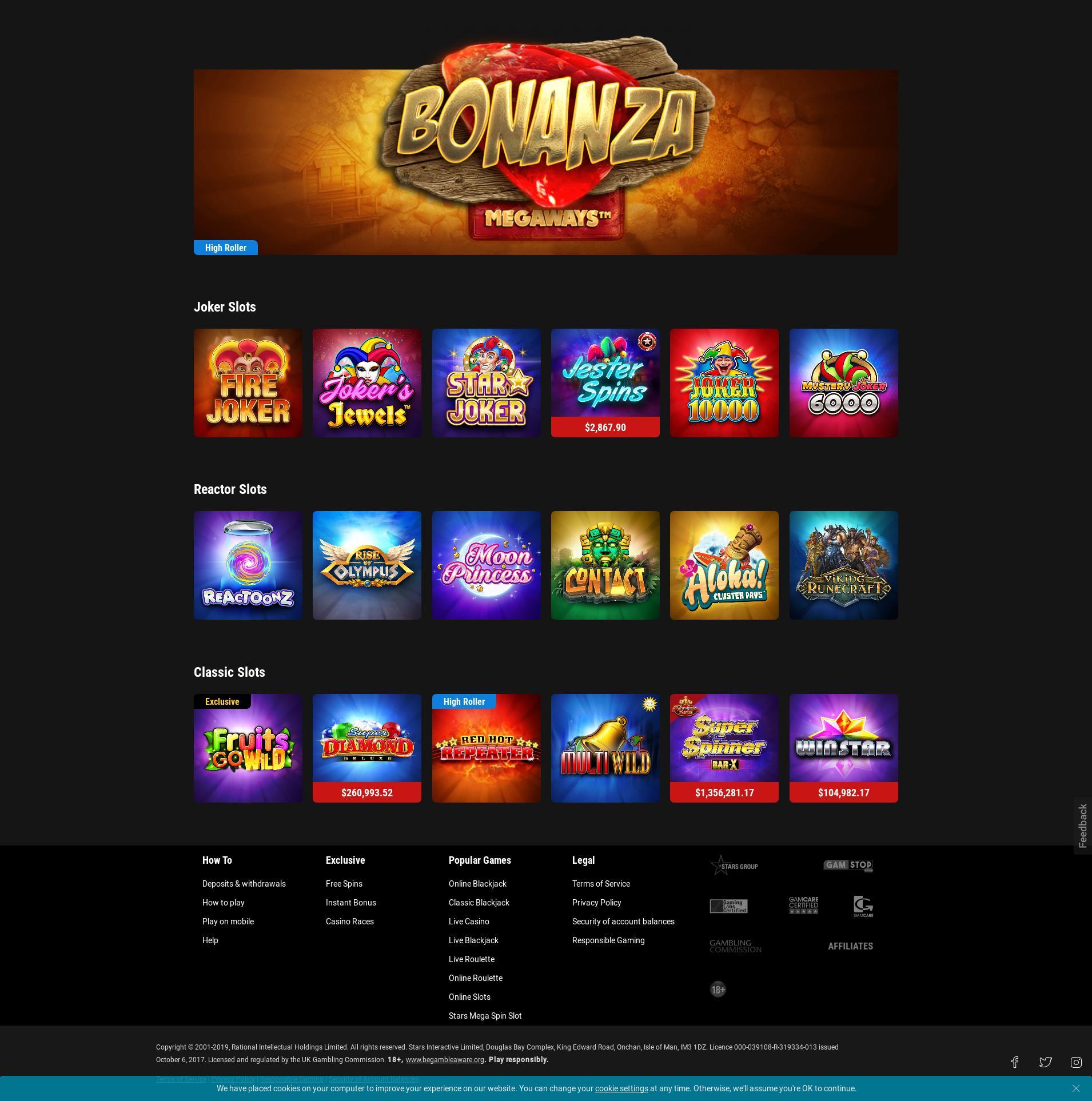 Casino screen Lobby 2019-07-20 for United Kingdom