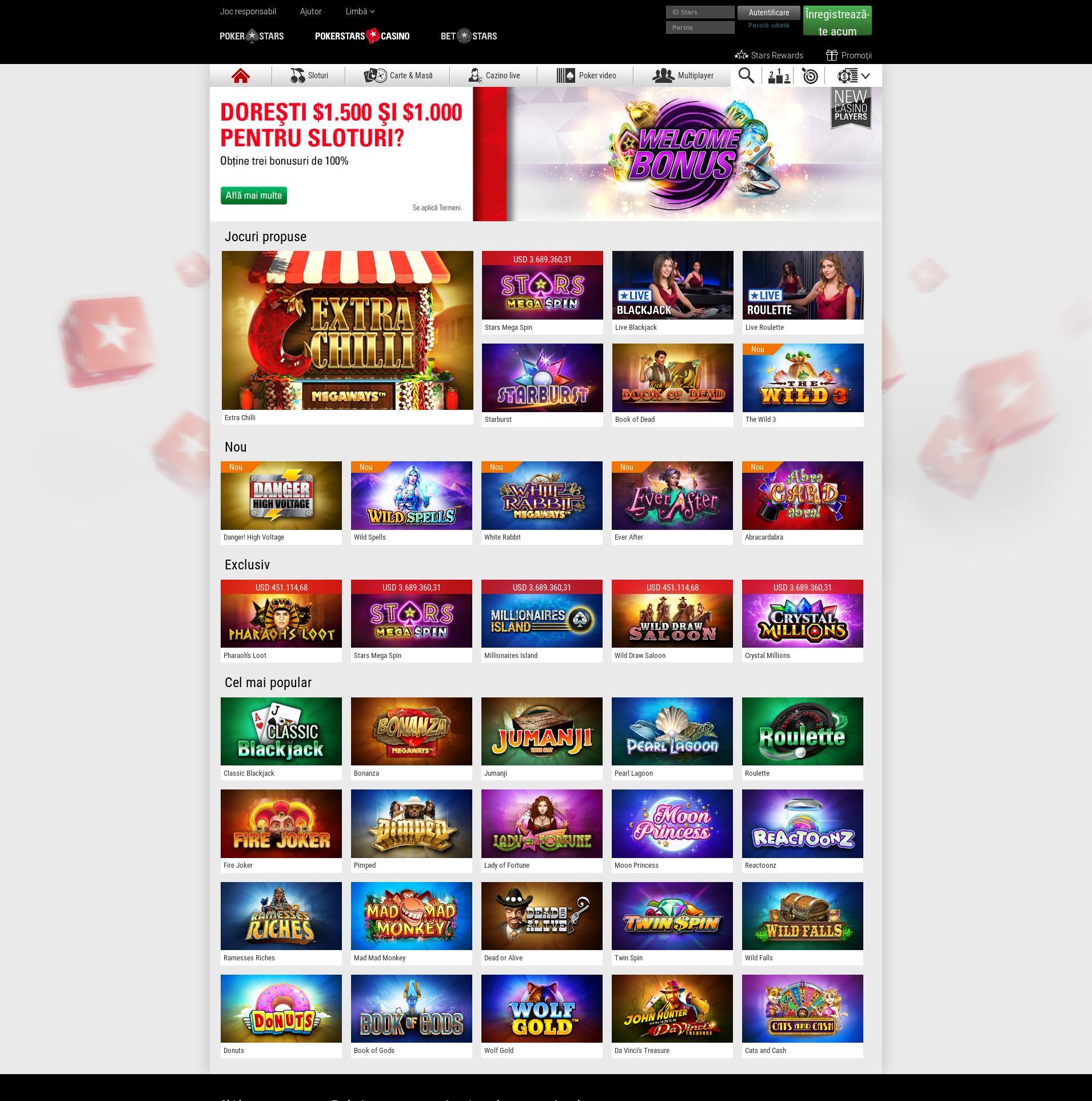 Casino screen Lobby 2019-07-22 pentru România