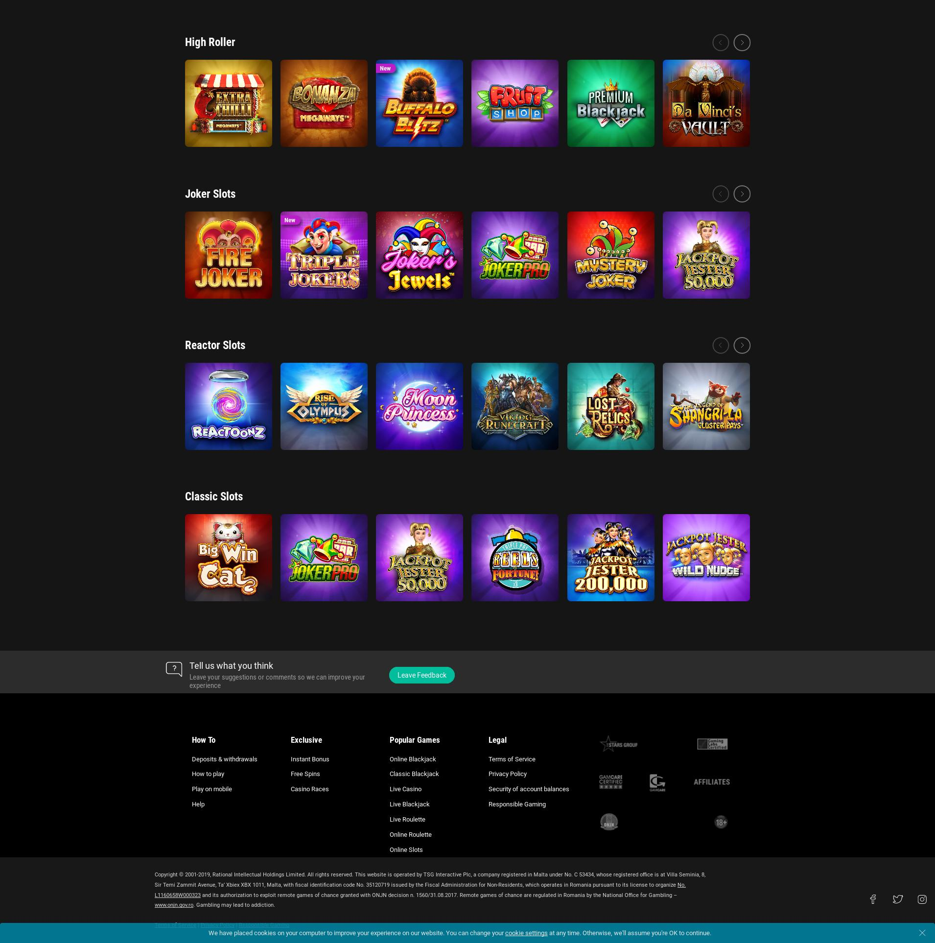 Casino screen Lobby 2019-10-15 pentru România