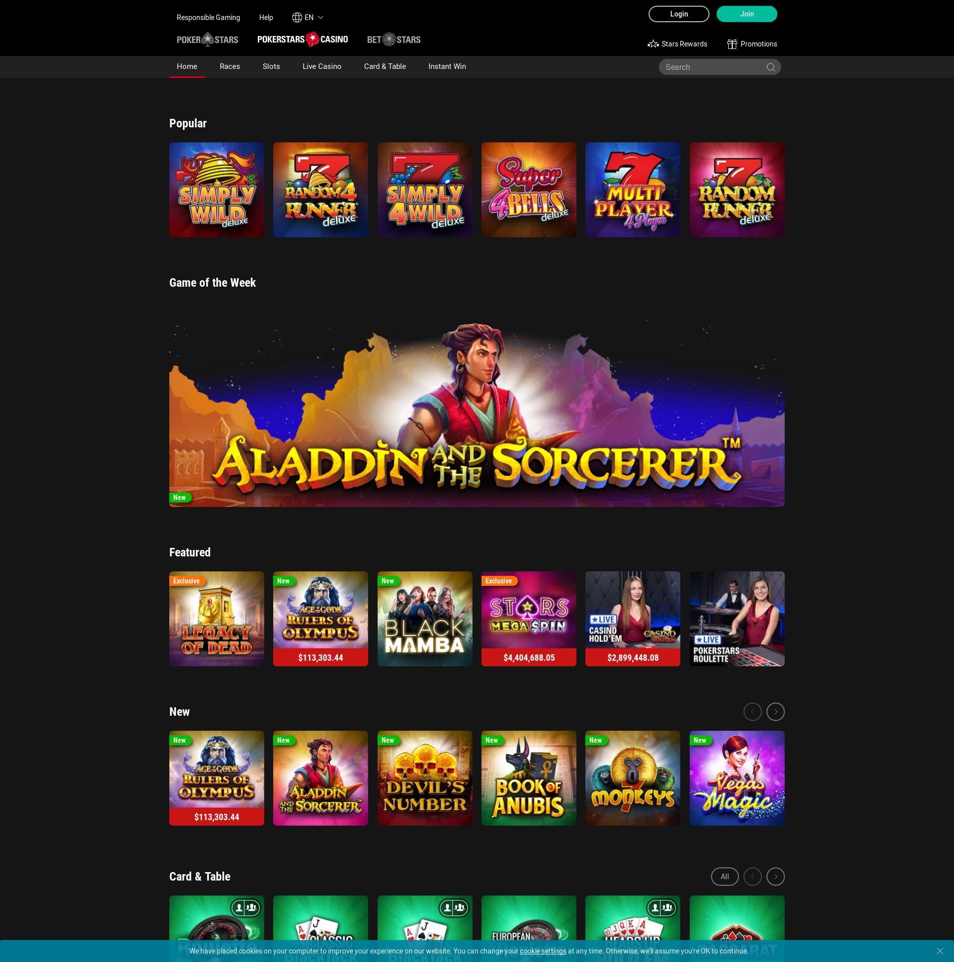 Casino scherm Lobby 2019-11-16 voor Nederland