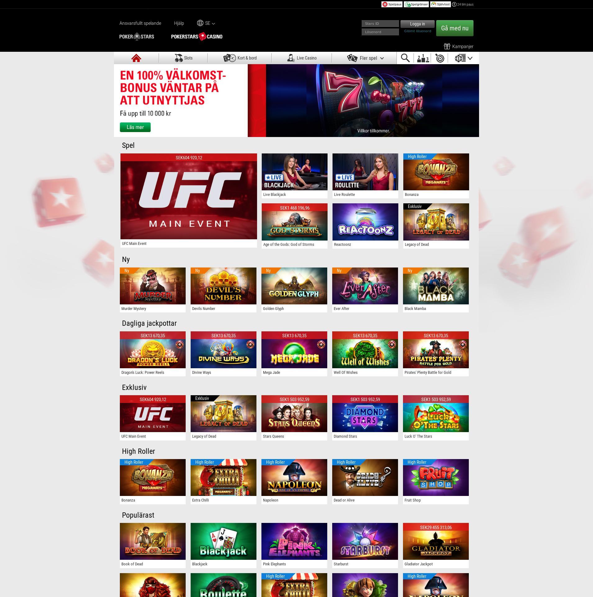 Casino screen Lobby 2019-11-20 for Sweden