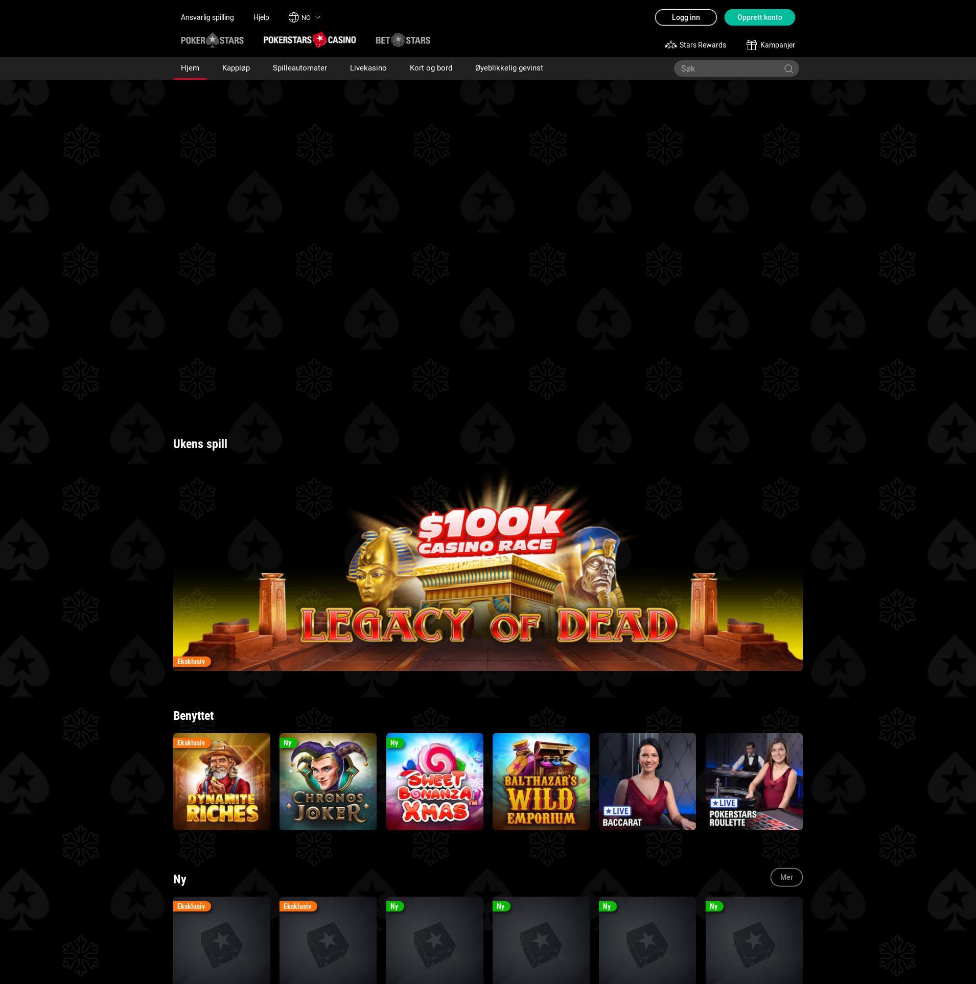 Casino skjerm Lobby 2019-12-06 til Norge
