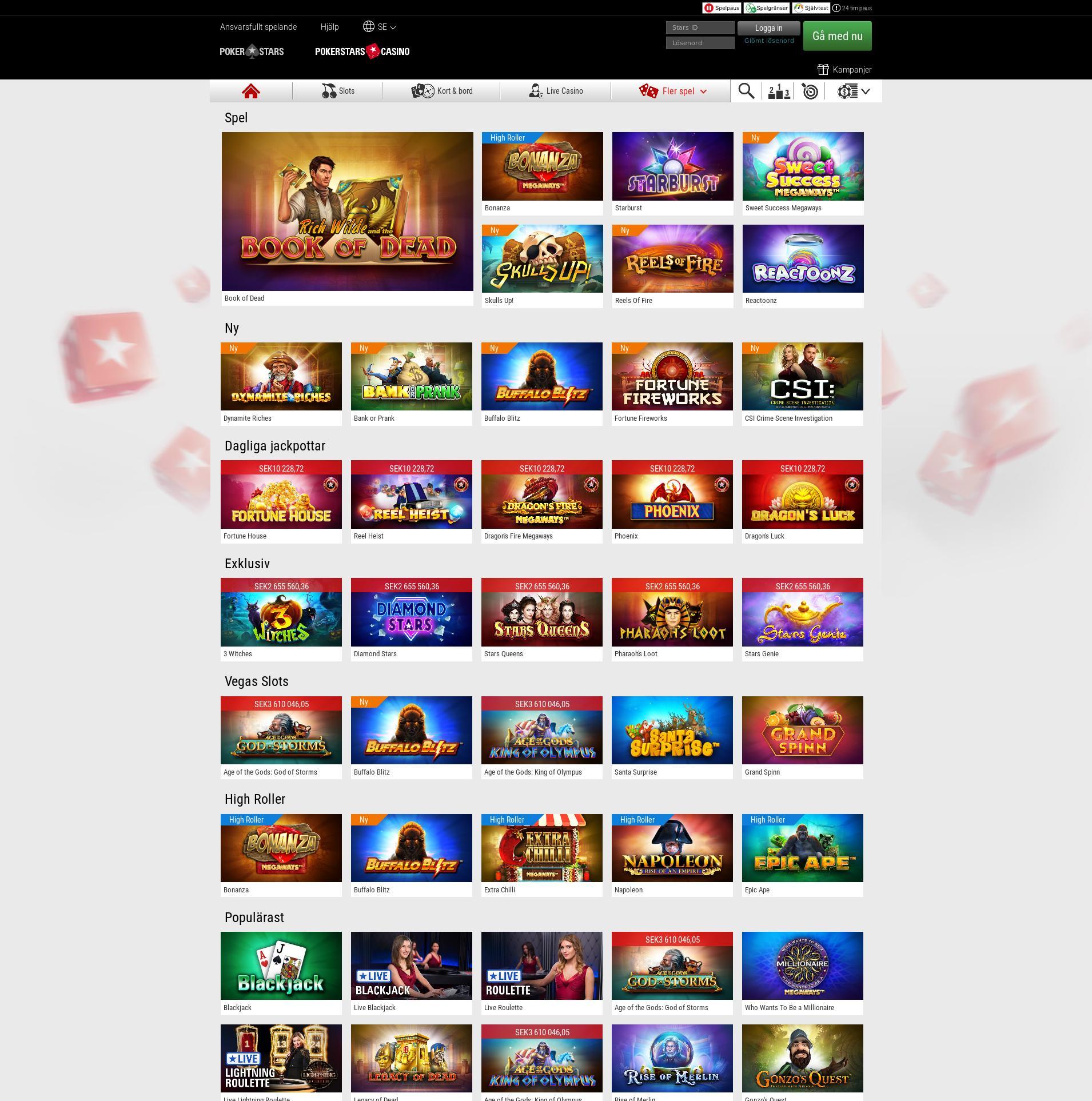 Casino skärm Lobby 2020-01-21 för Sverige