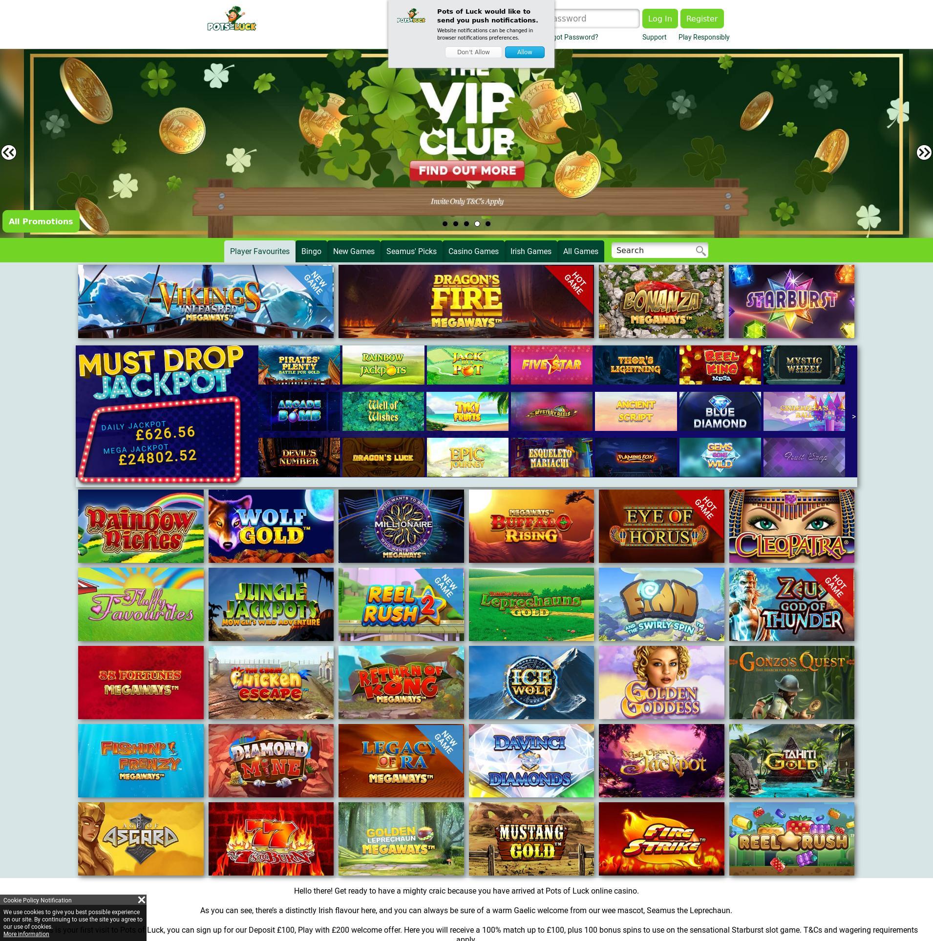 Casino screen Lobby 2019-11-18 for United Kingdom