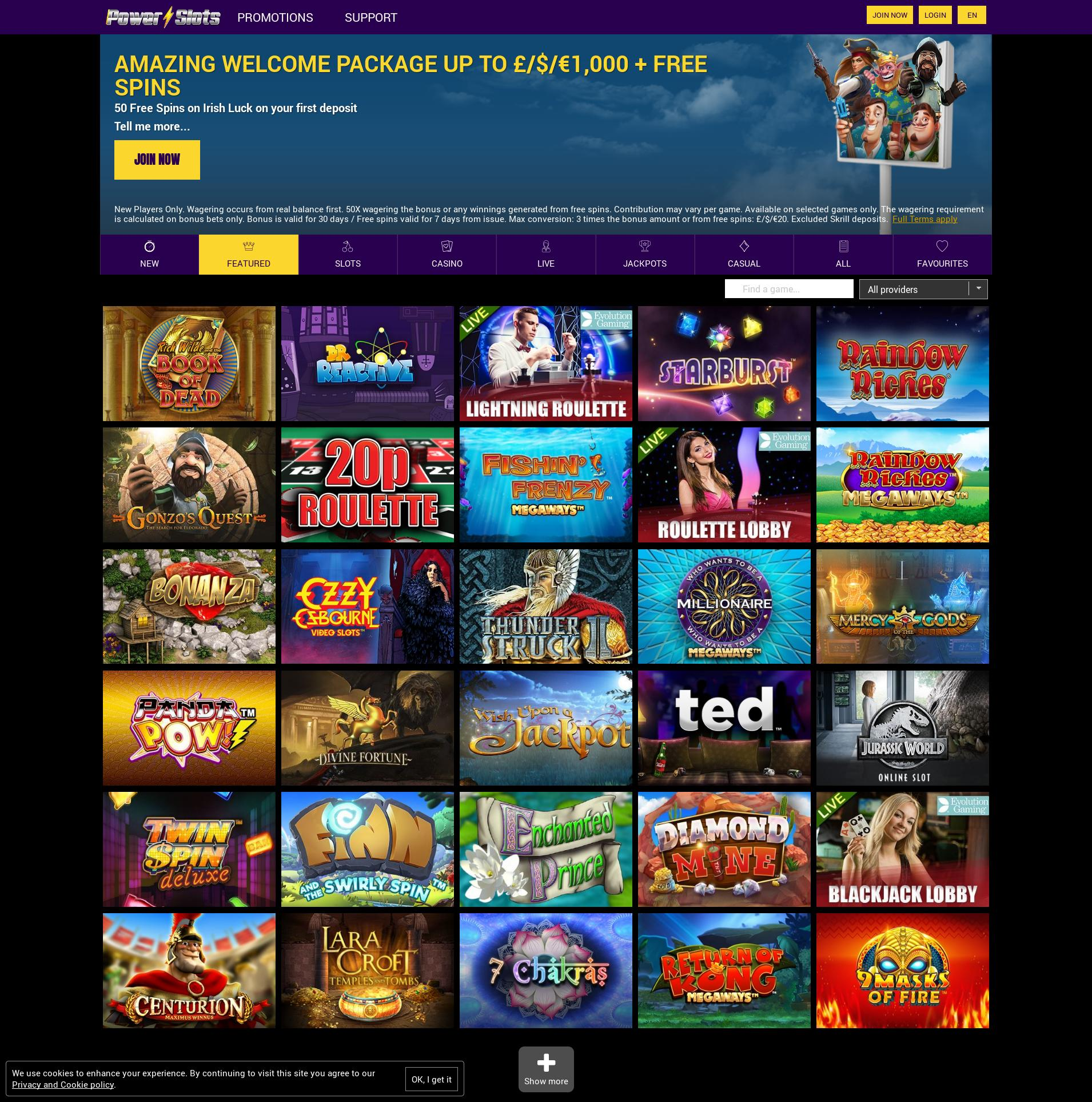 Casino screen Lobby 2020-02-20 for United Kingdom
