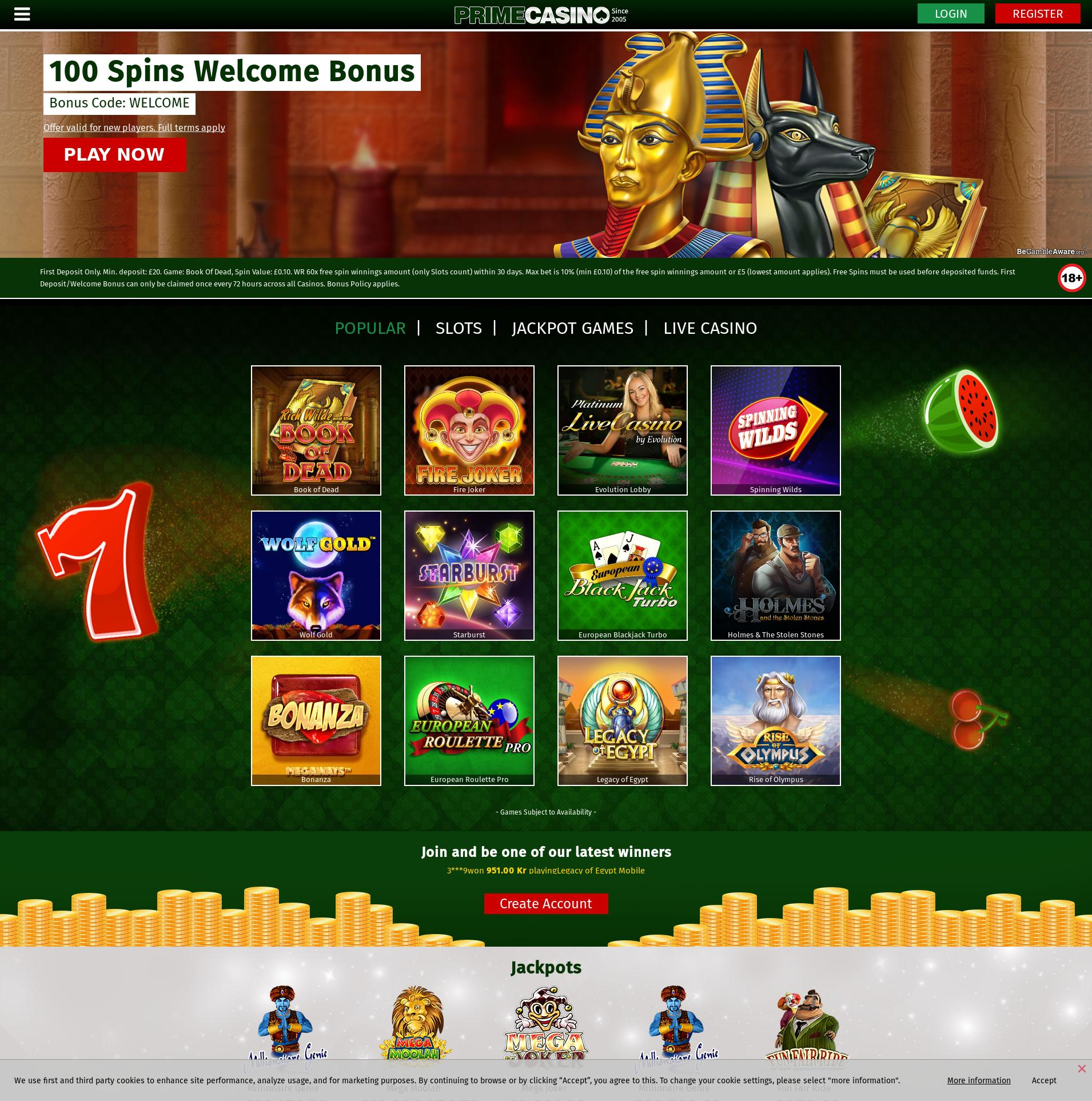 Casino screen Lobby 2019-10-15 for United Kingdom