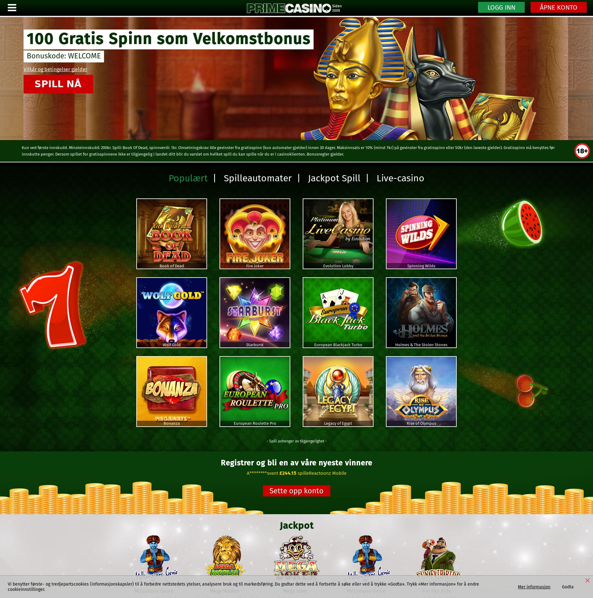 Casino skjerm Lobby 2019-10-19 til Norge