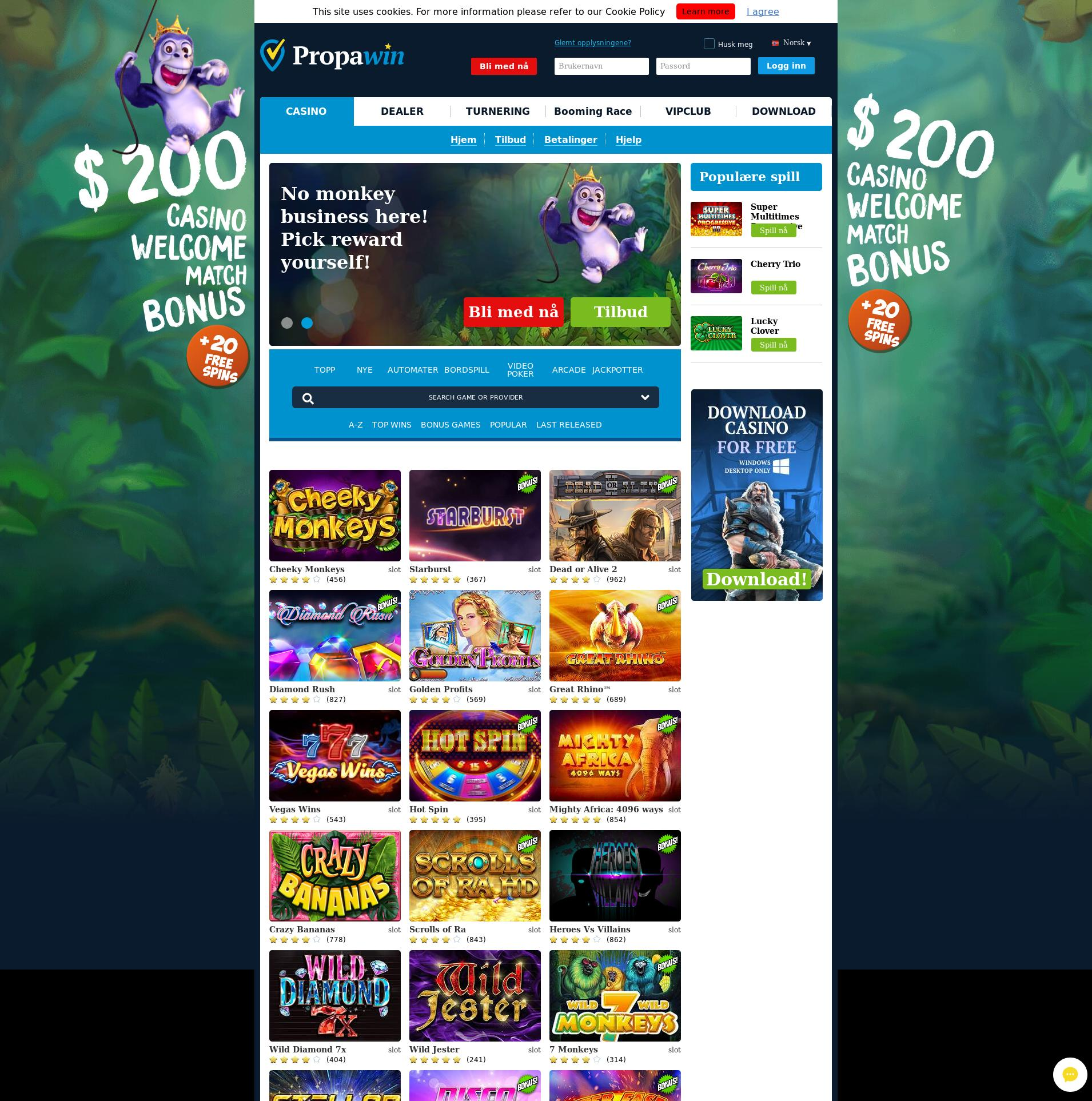 Casino skärm Lobby 2019-07-21 för Norge