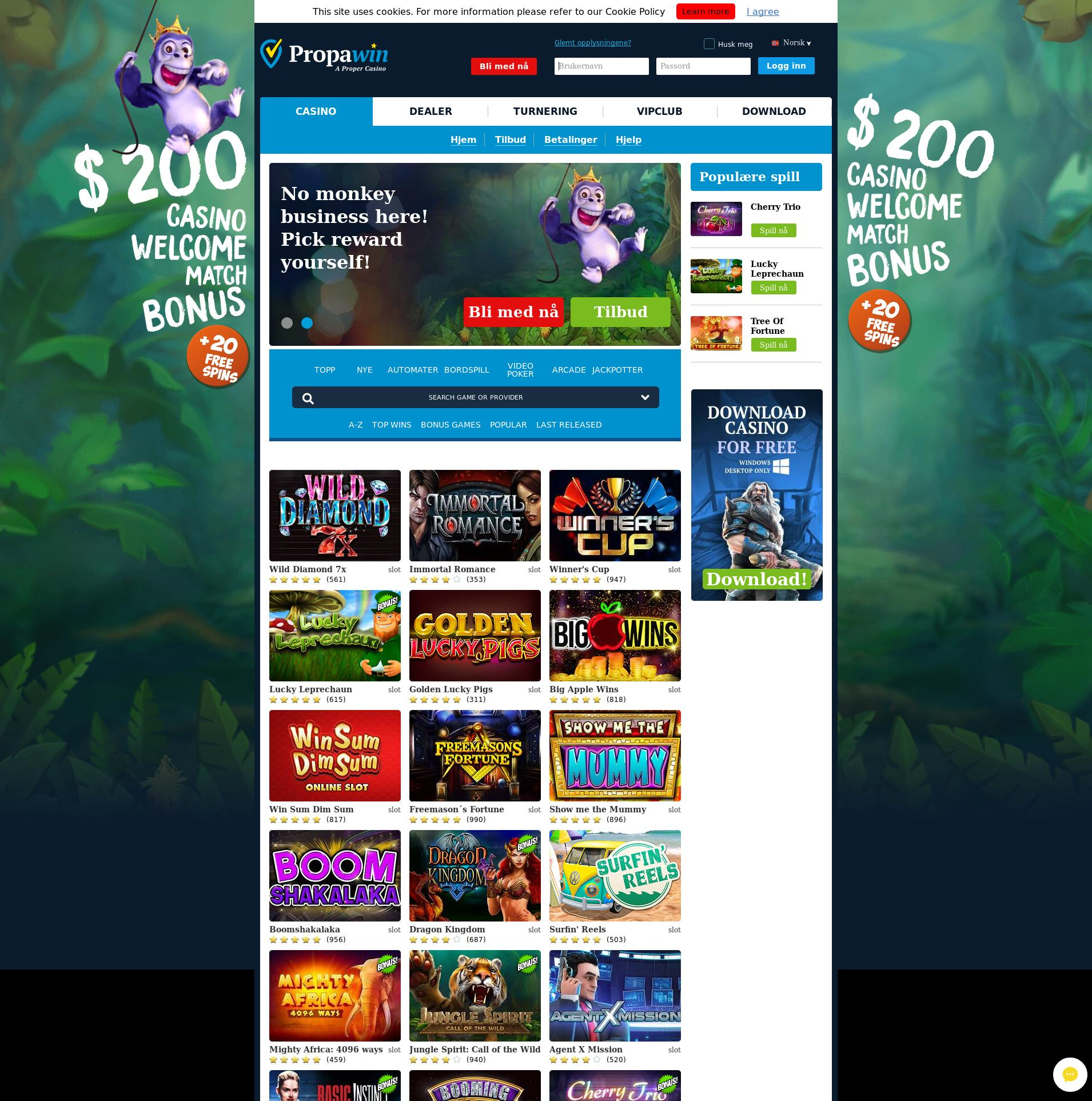 Casino skærm Lobby 2019-08-19 til Norge