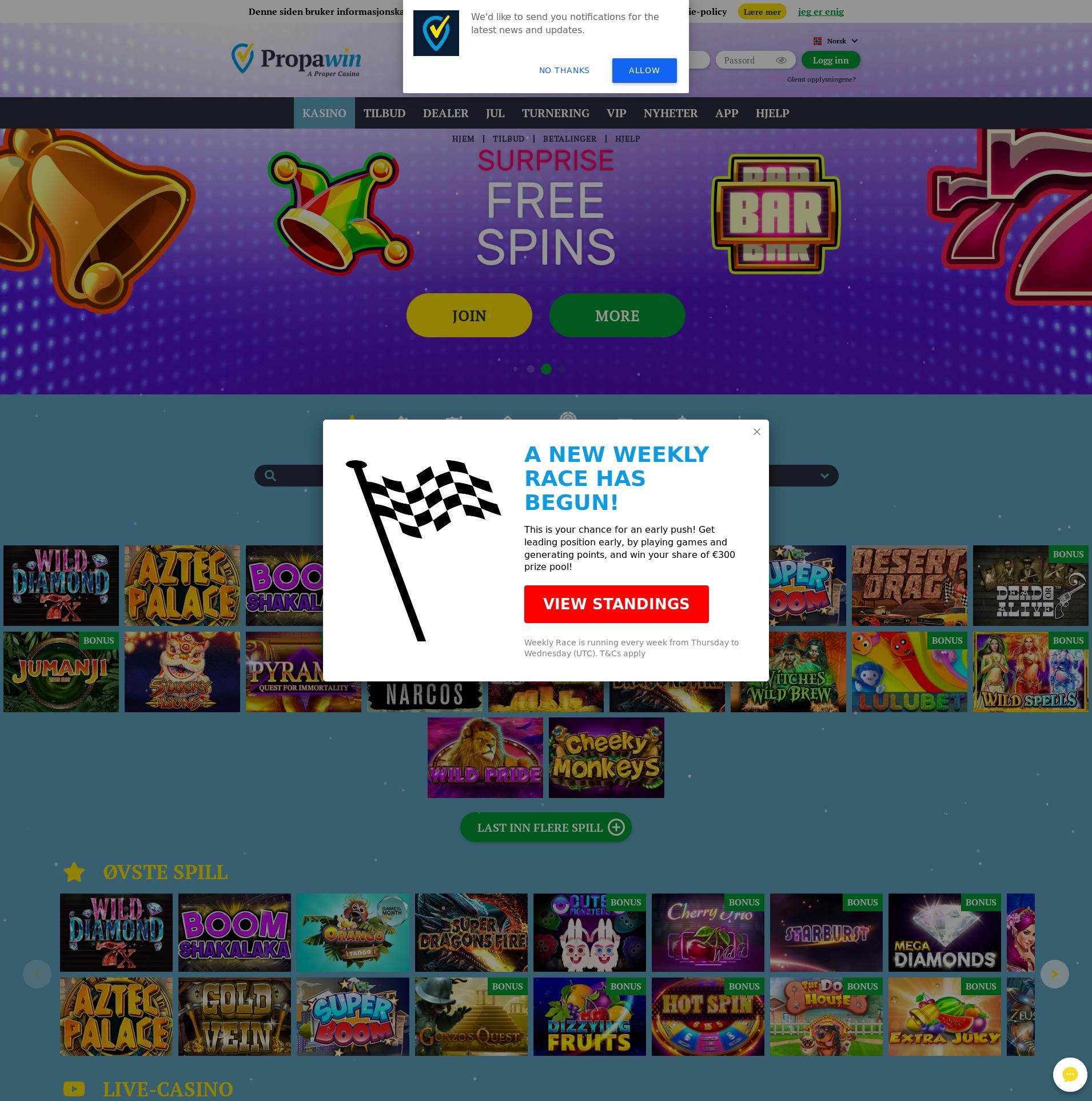 Casino skjerm Lobby 2019-12-12 til Norge