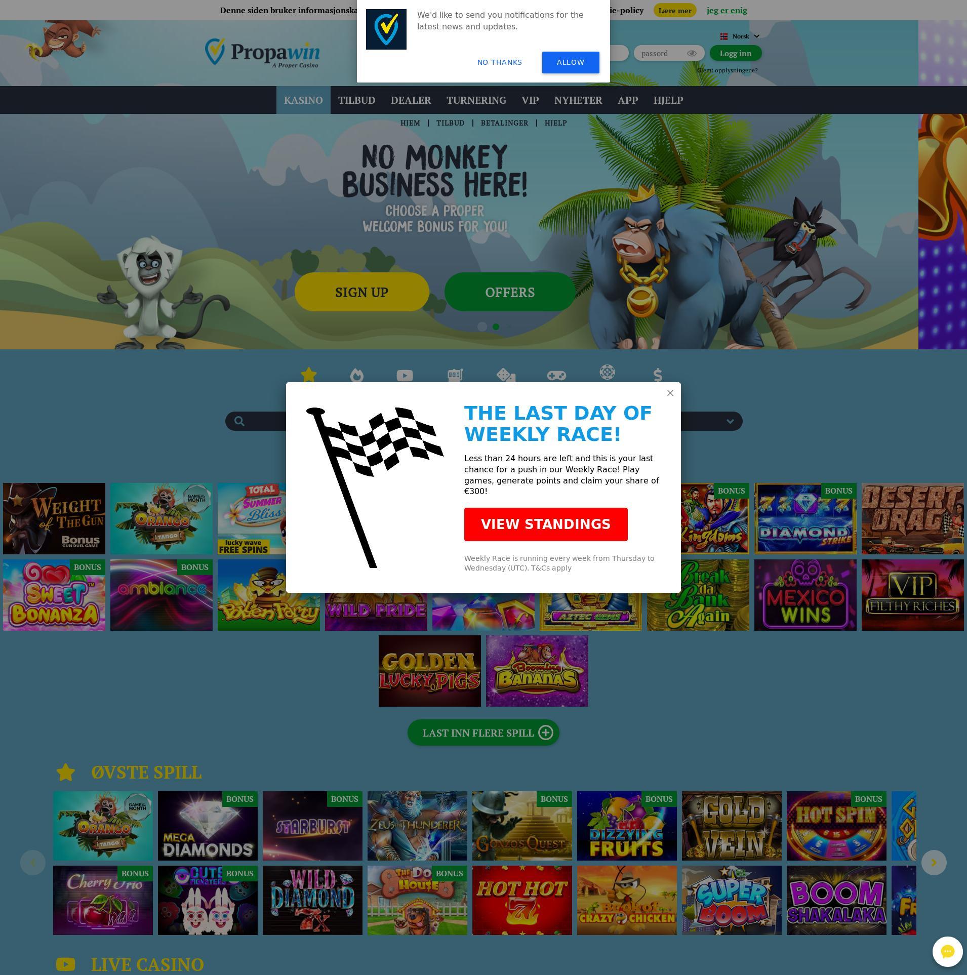 Casino skærm Lobby 2020-01-22 til Norge
