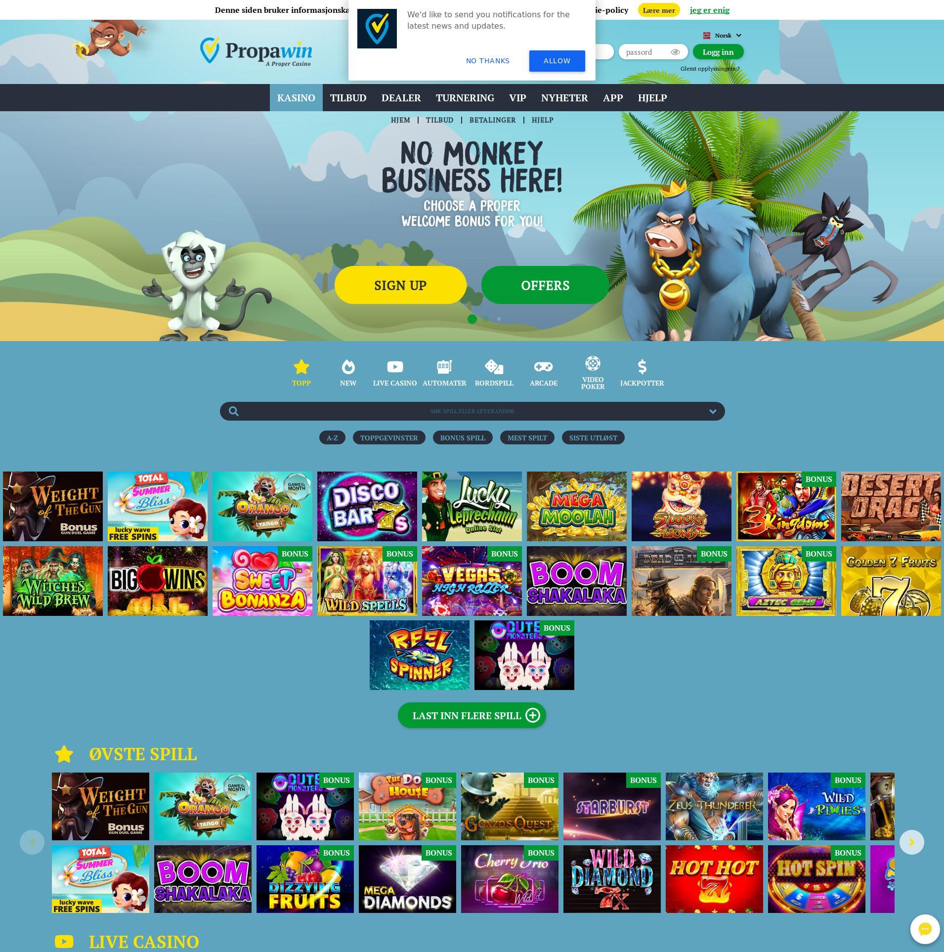 Casino skjerm Lobby 2020-01-28 til Norge