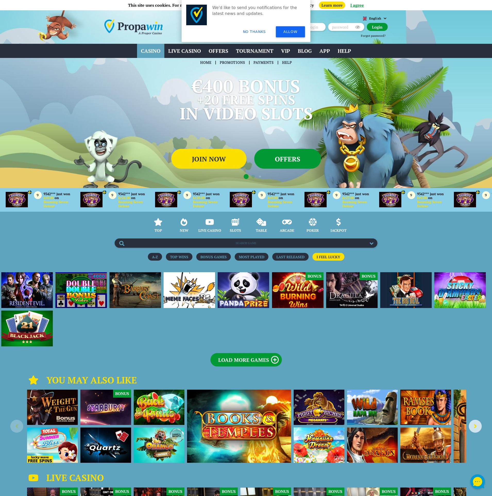 Casino skärm Lobby 2020-06-02 för Tyskland