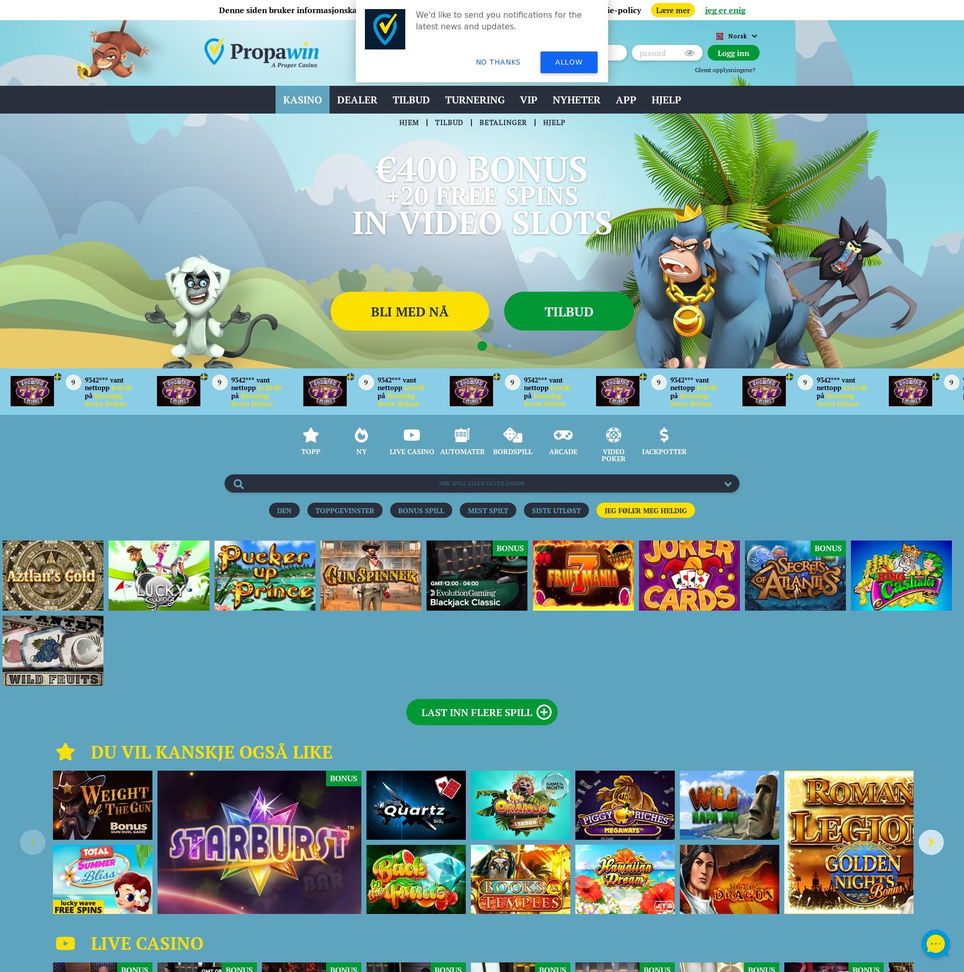 Casino skärm Lobby 2020-06-02 för Norge