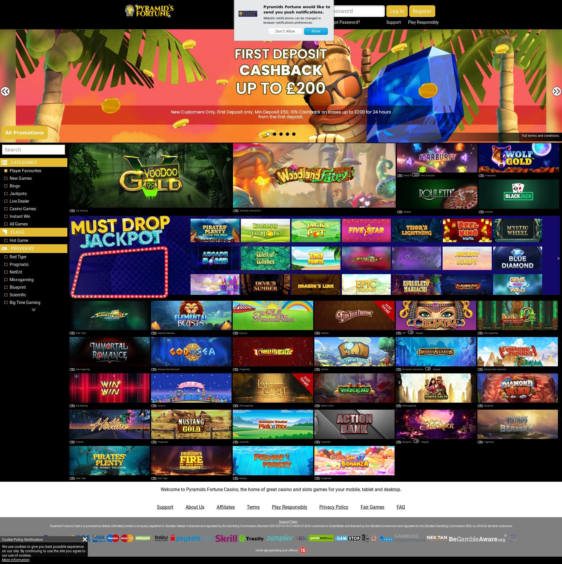 Casino screen Lobby 2019-10-17 for United Kingdom