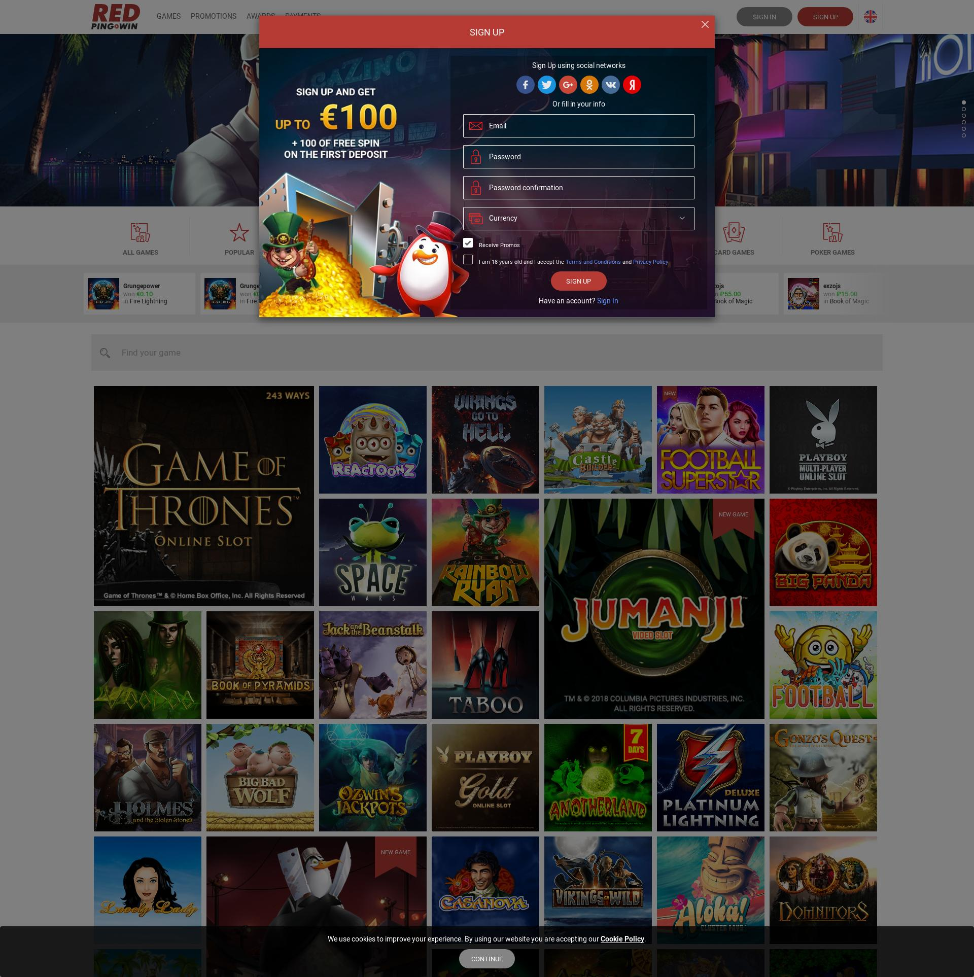 Casino screen Lobby 2019-07-22 for Germany