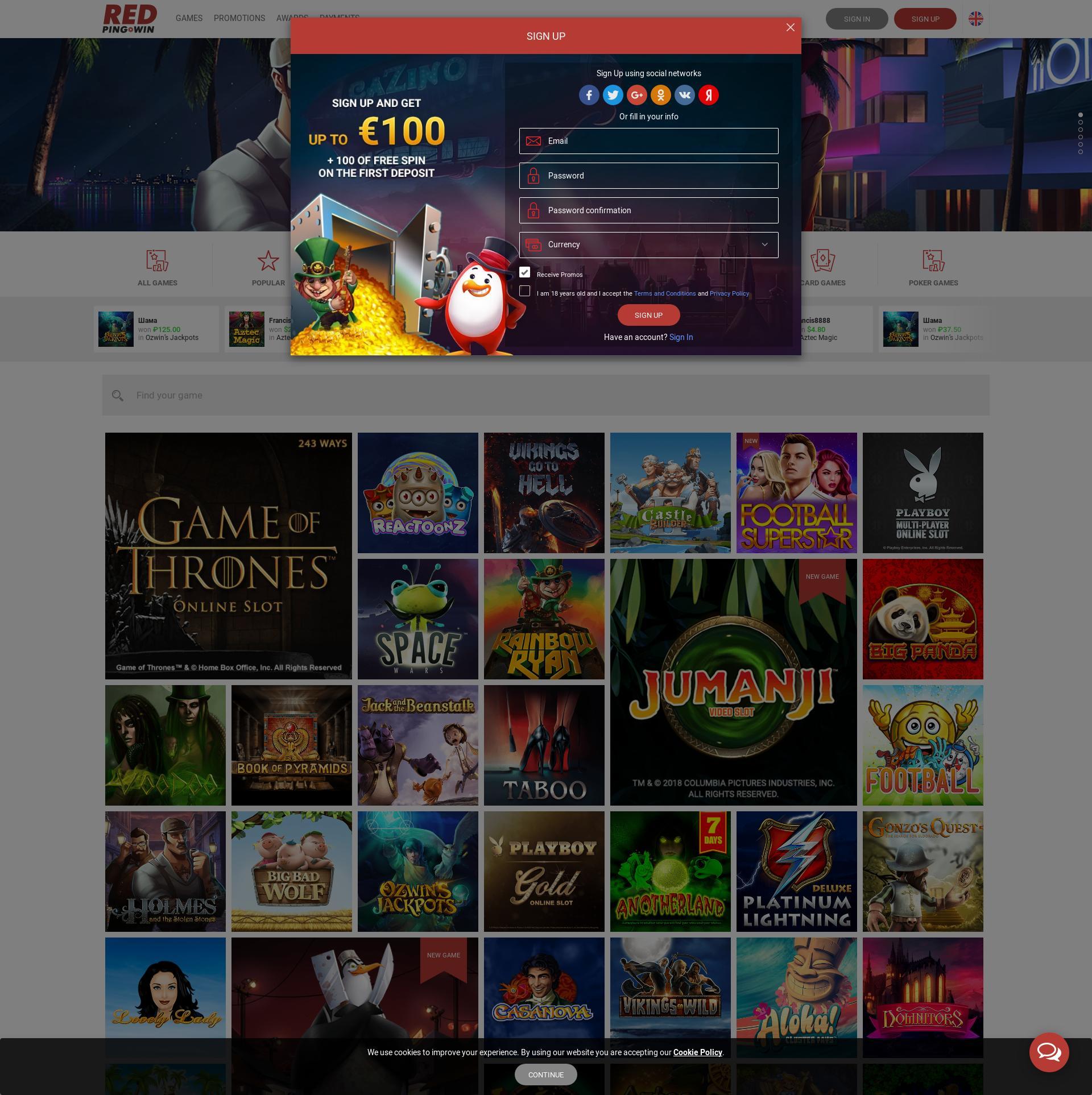 Casino screen Lobby 2019-12-05 for Germany