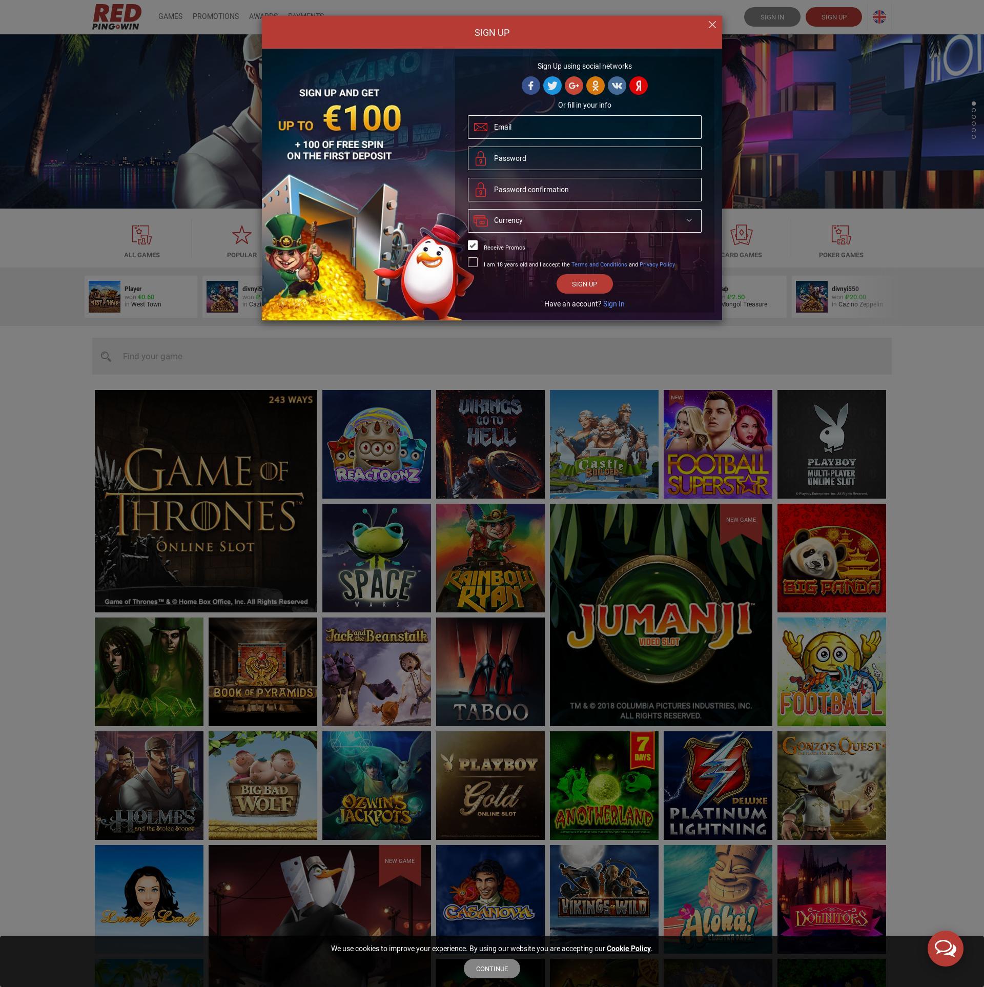 Casino screen Lobby 2019-12-12 for Ukraine