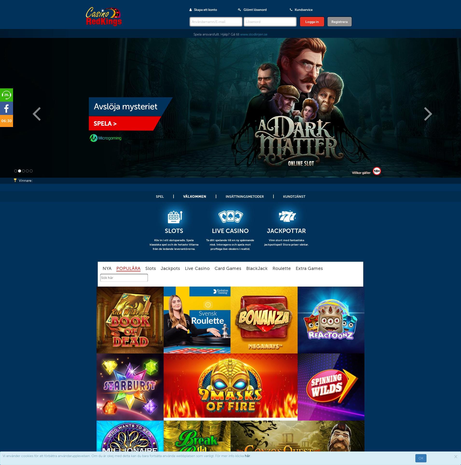 Casino skärm Lobby 2019-11-13 för Sverige