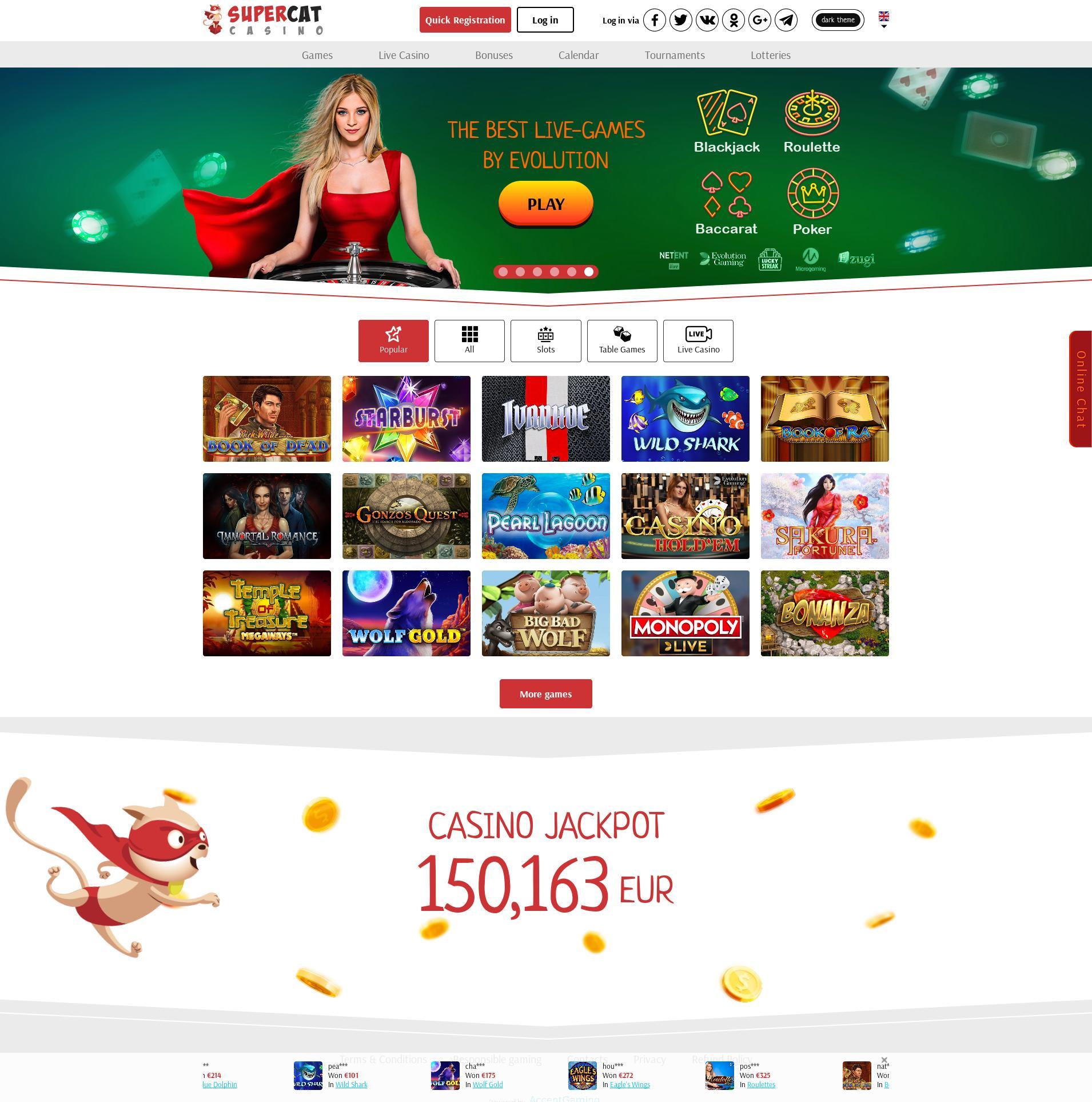 Obrazovka kasina Lobby 2019-09-21 pro Česká republika