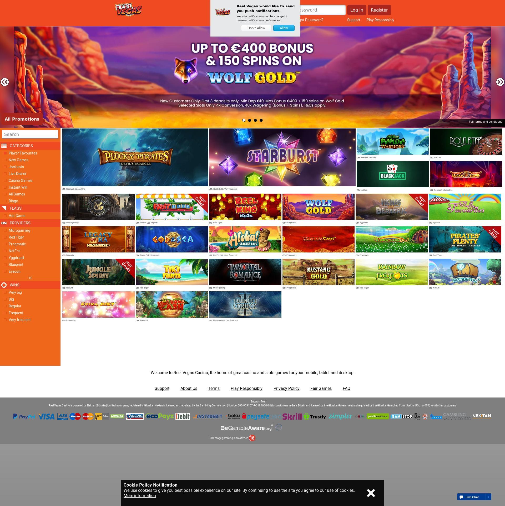 Casino screen Lobby 2019-07-15 for Germany