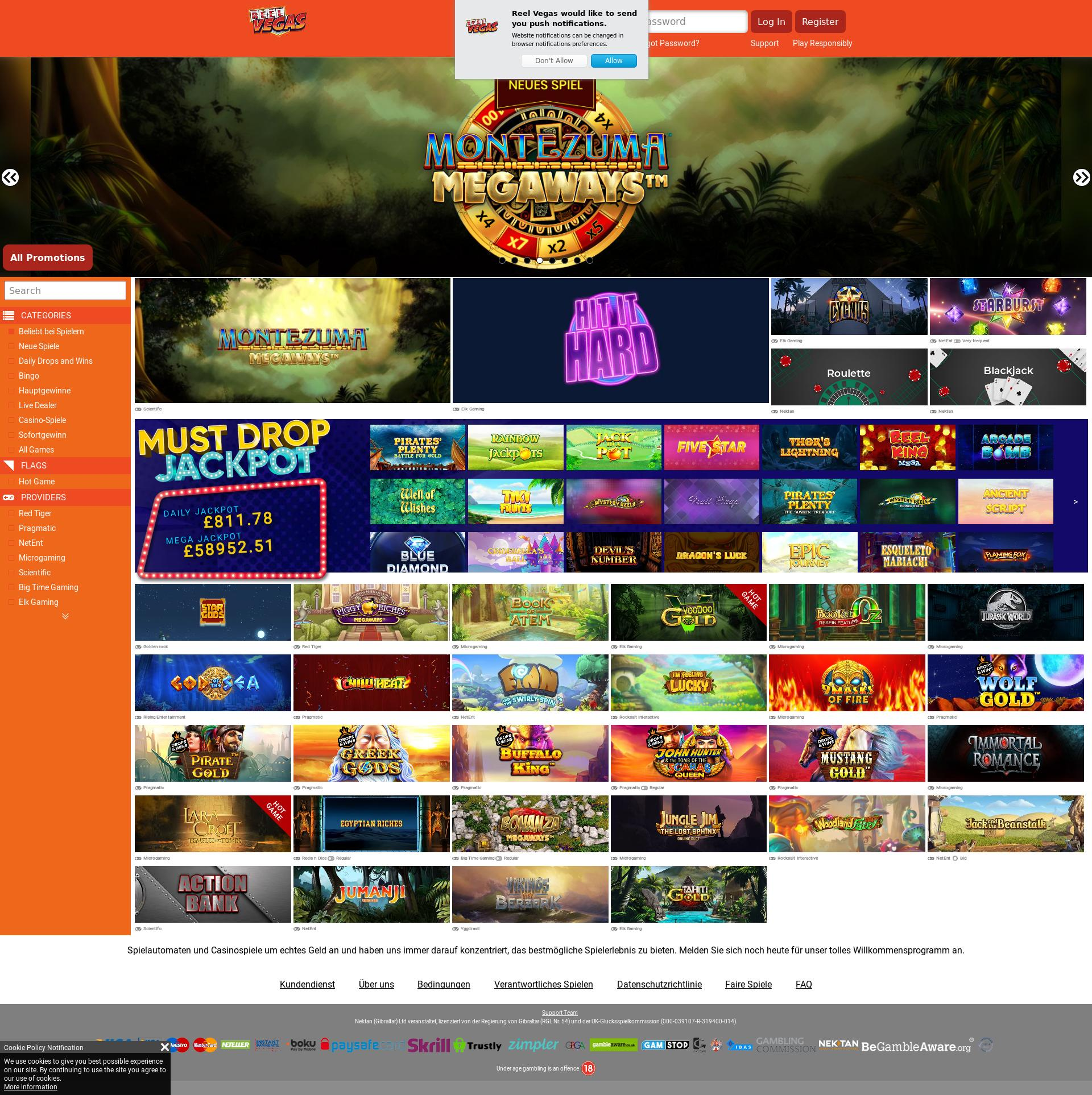 Casino screen Lobby 2020-01-24 for Germany