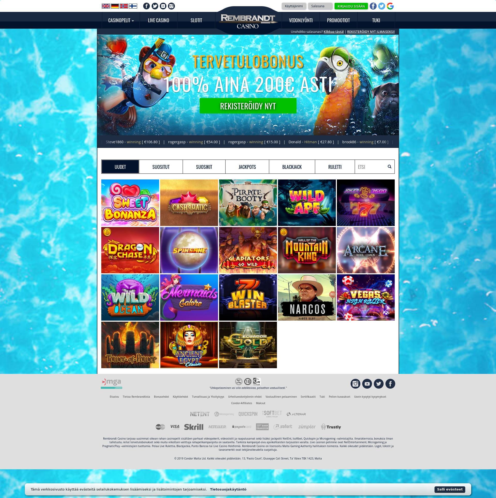 Casino skärm Lobby 2019-06-26 för finland