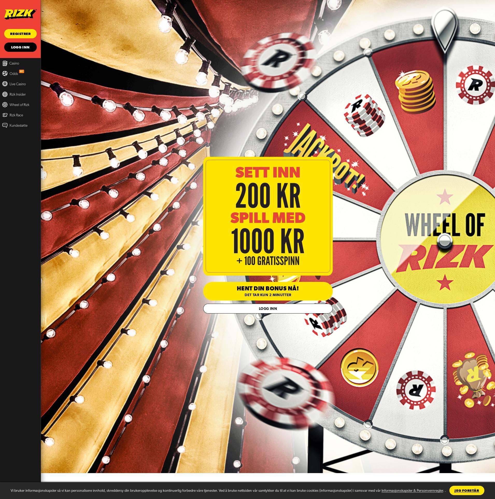 Casino skjerm Lobby 2020-01-22 til Norge