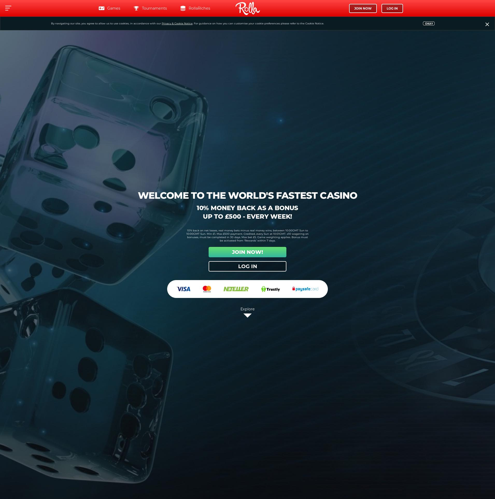 Casino screen Lobby 2019-07-15 for United Kingdom