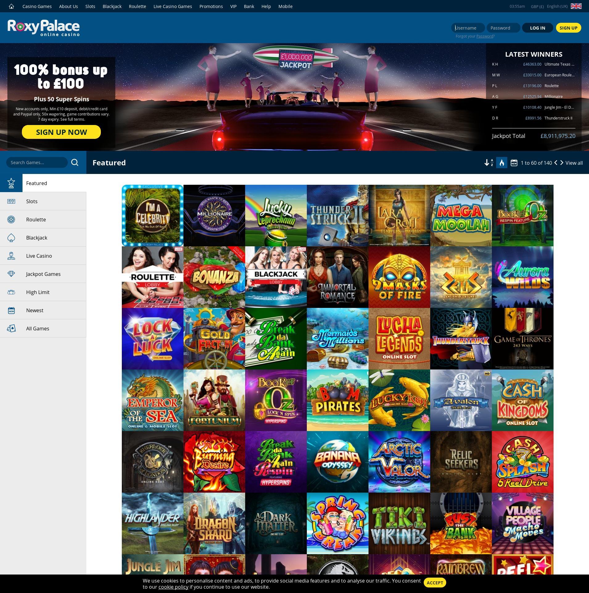 Casino screen Lobby 2019-12-14 for United Kingdom
