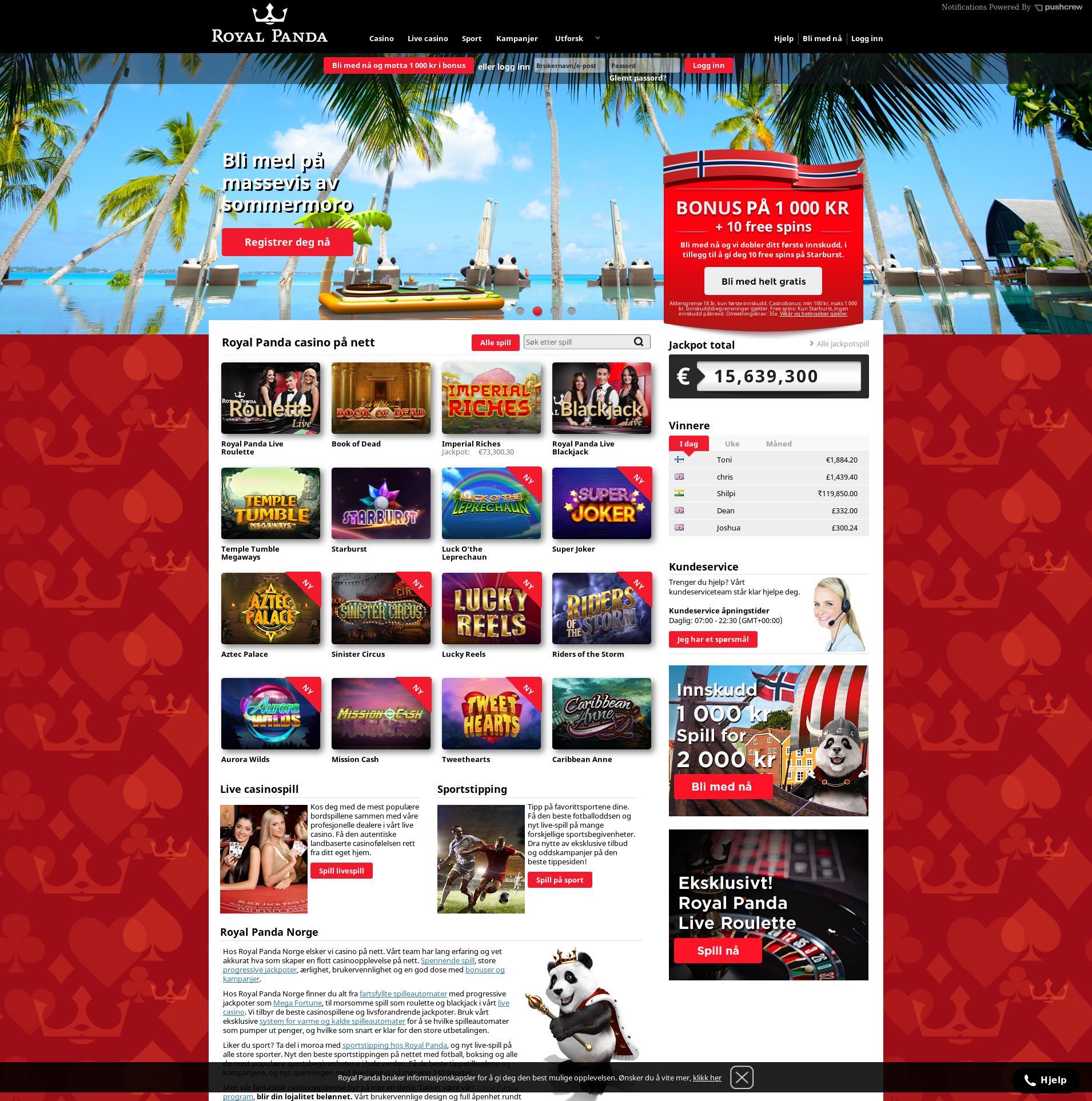 Casino skjerm Lobby 2019-09-20 til Norge