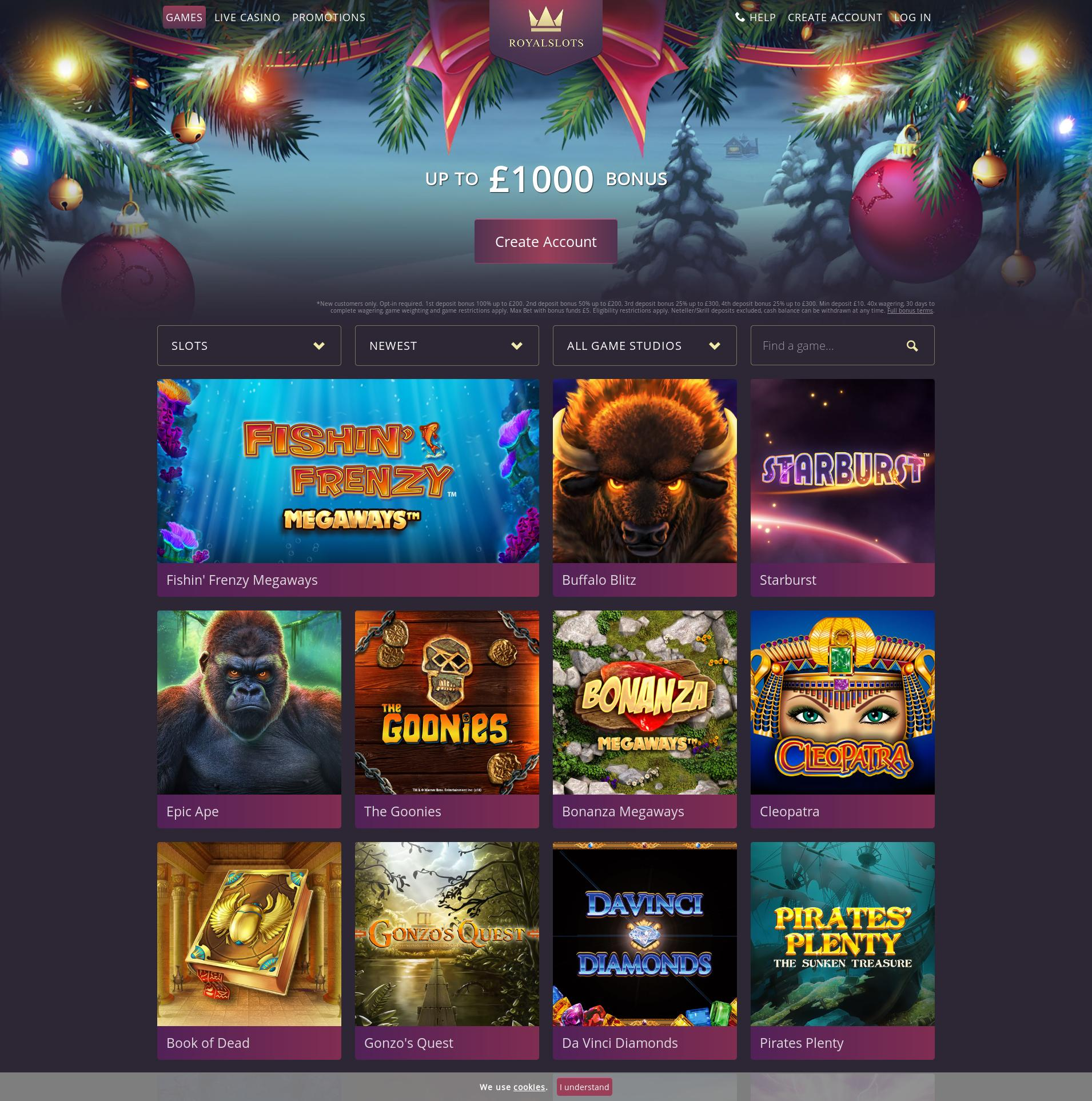 Casino screen Lobby 2019-12-05 for United Kingdom