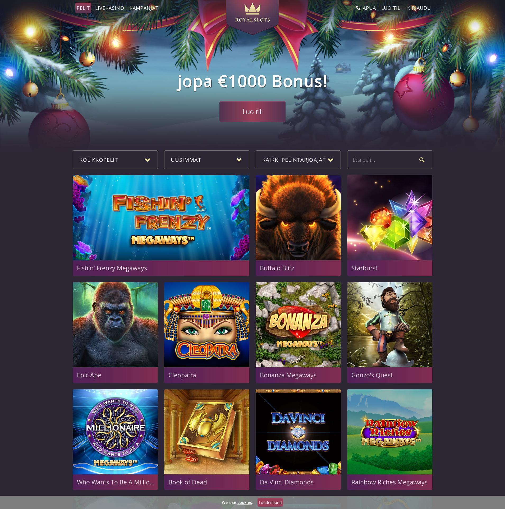 Casino screen Lobby 2019-12-05 for Finland