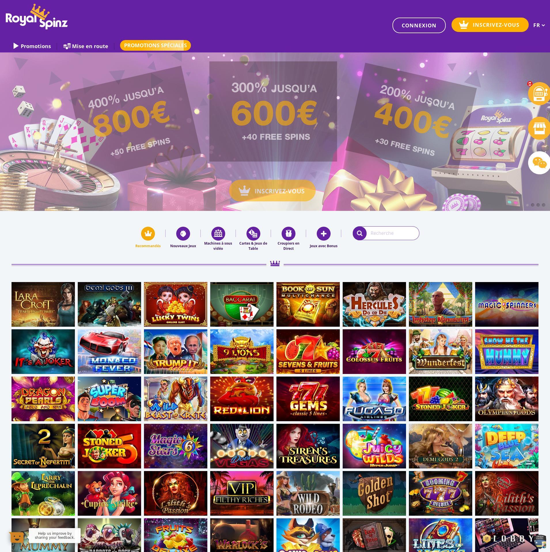 Écran de casino Lobby 2020-01-24 pour France