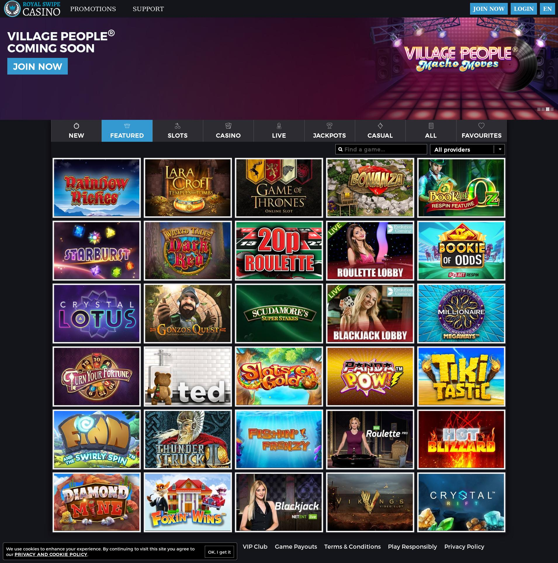 Casino screen Lobby 2019-06-14 for United Kingdom
