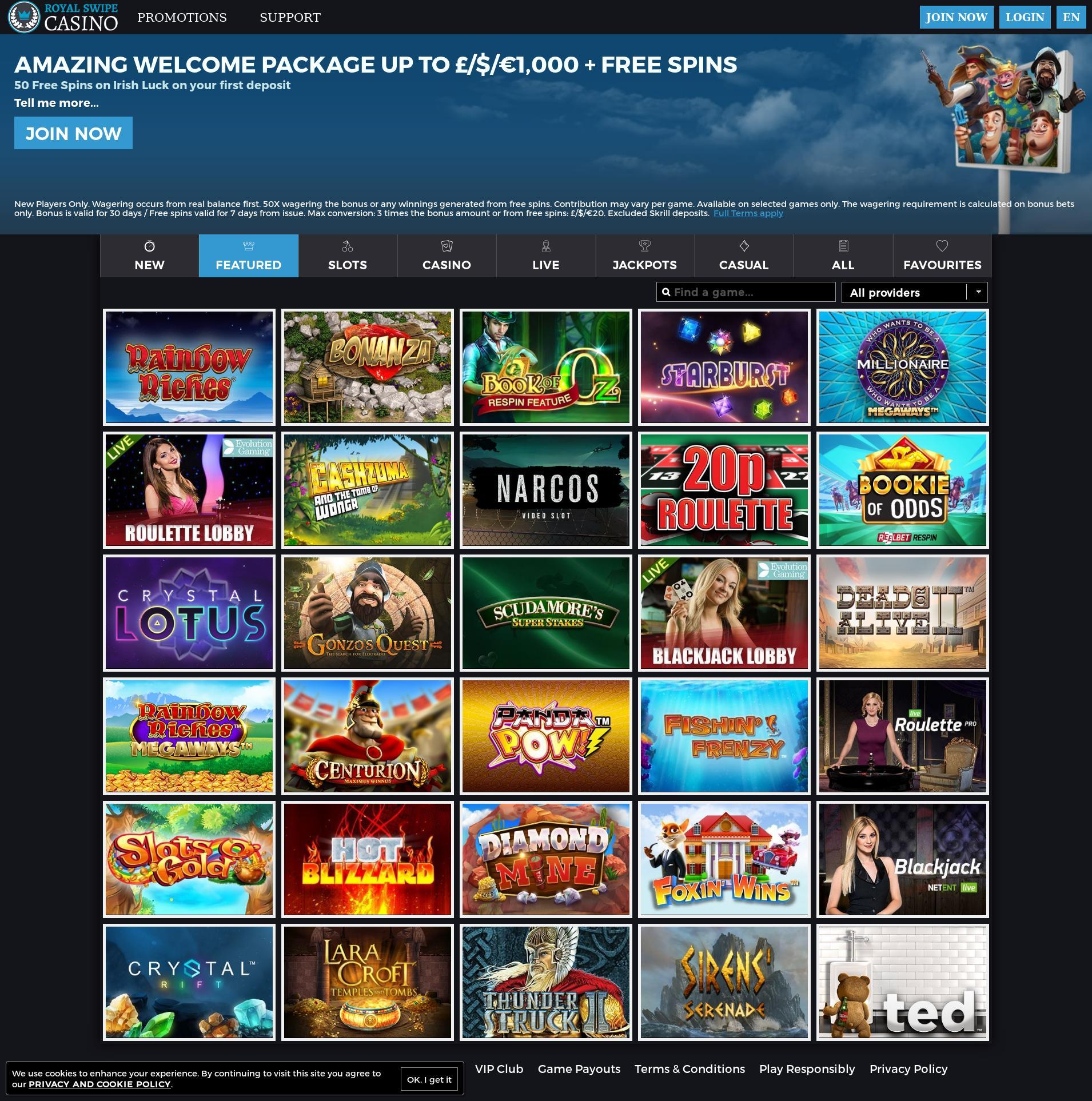 Casino screen Lobby 2019-08-17 for United Kingdom