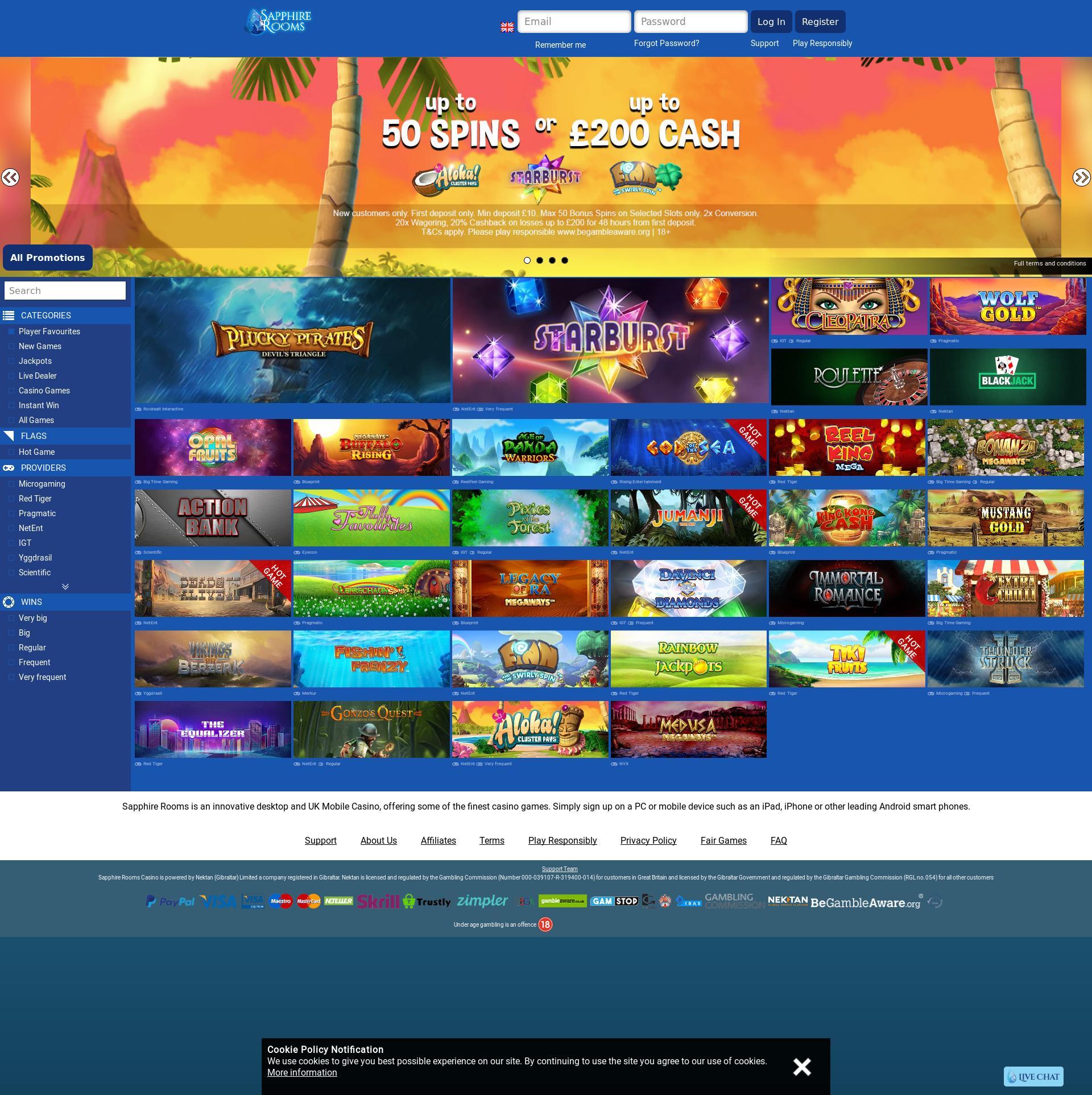 Casino screen Lobby 2019-06-19 for United Kingdom