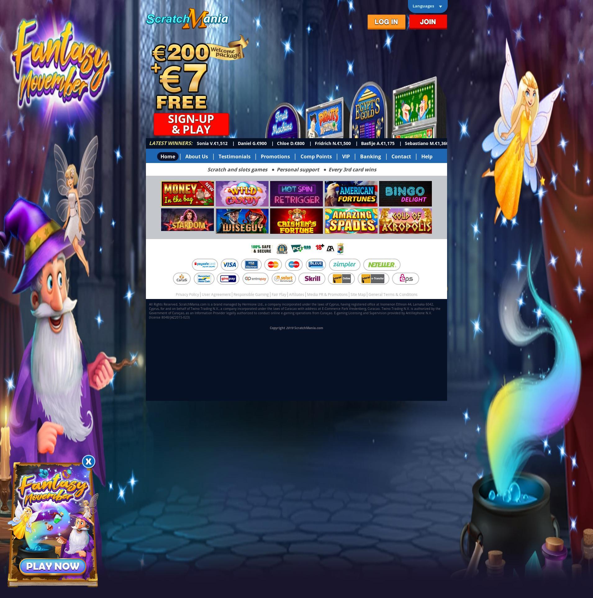 Casino scherm Lobby 2019-11-14 voor Nederland