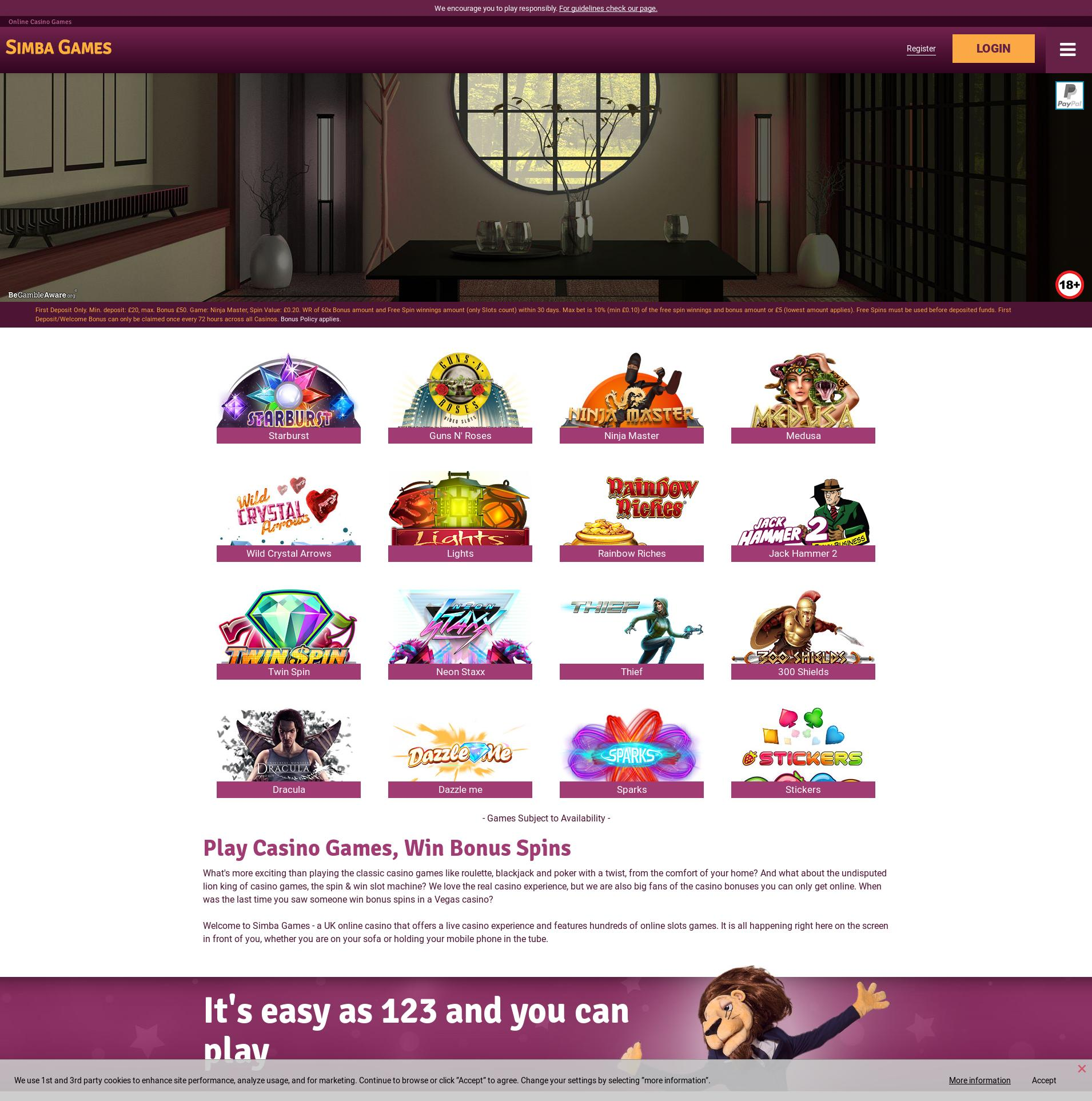Casino screen Lobby 2020-05-25 for United Kingdom
