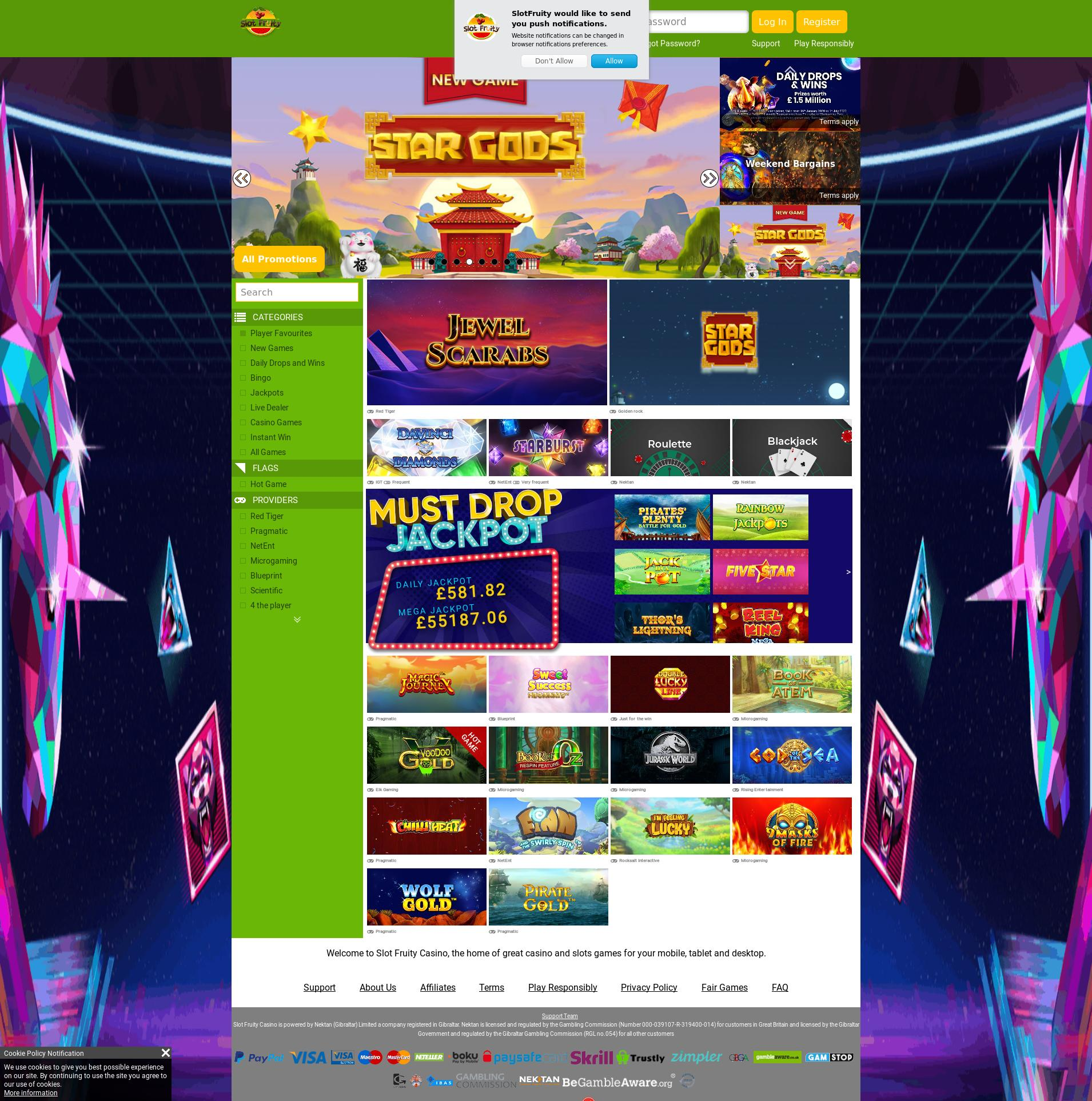 Casino screen Lobby 2020-01-17 for United Kingdom