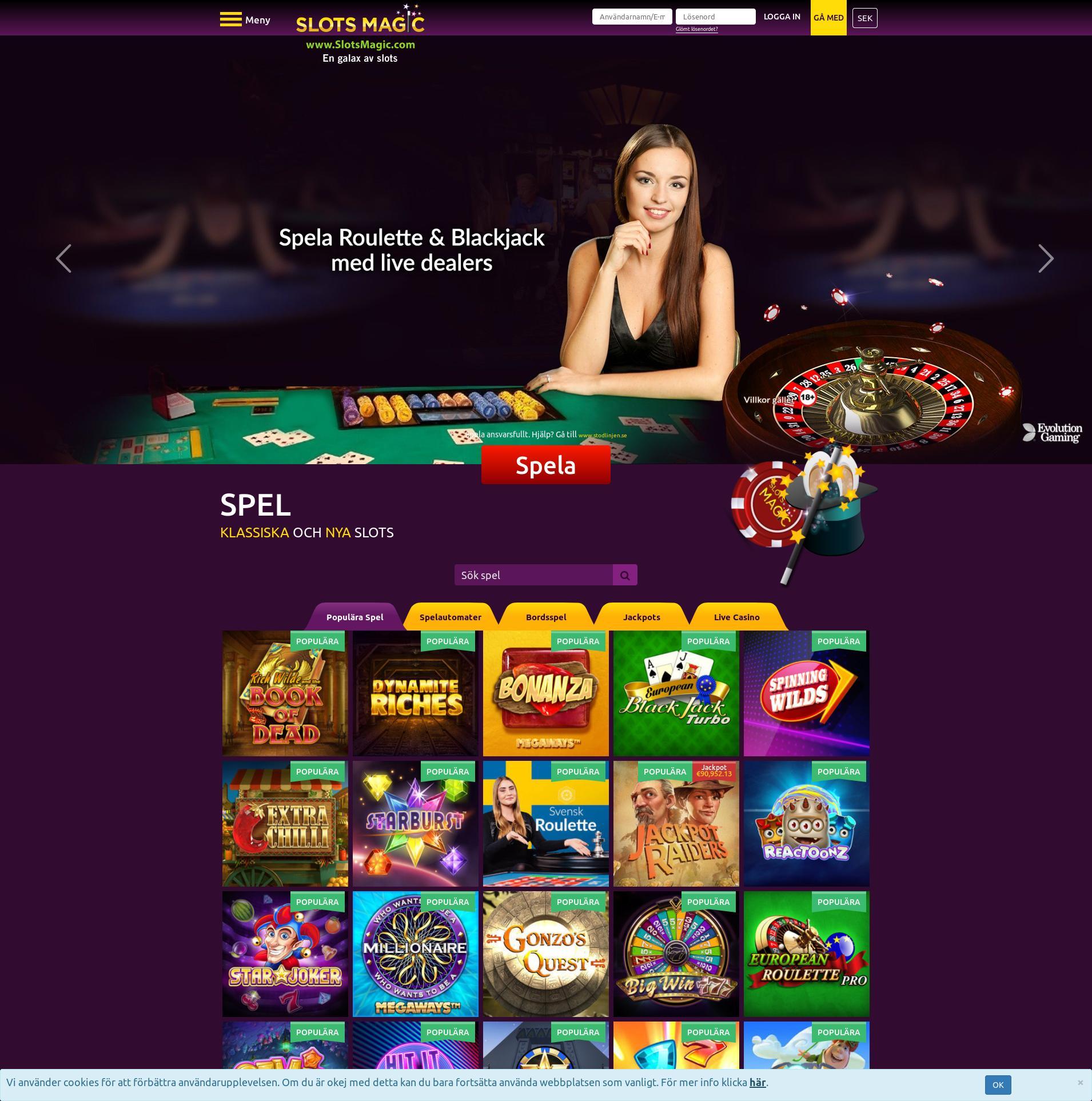 Casino skärm Lobby 2020-01-24 för Sverige