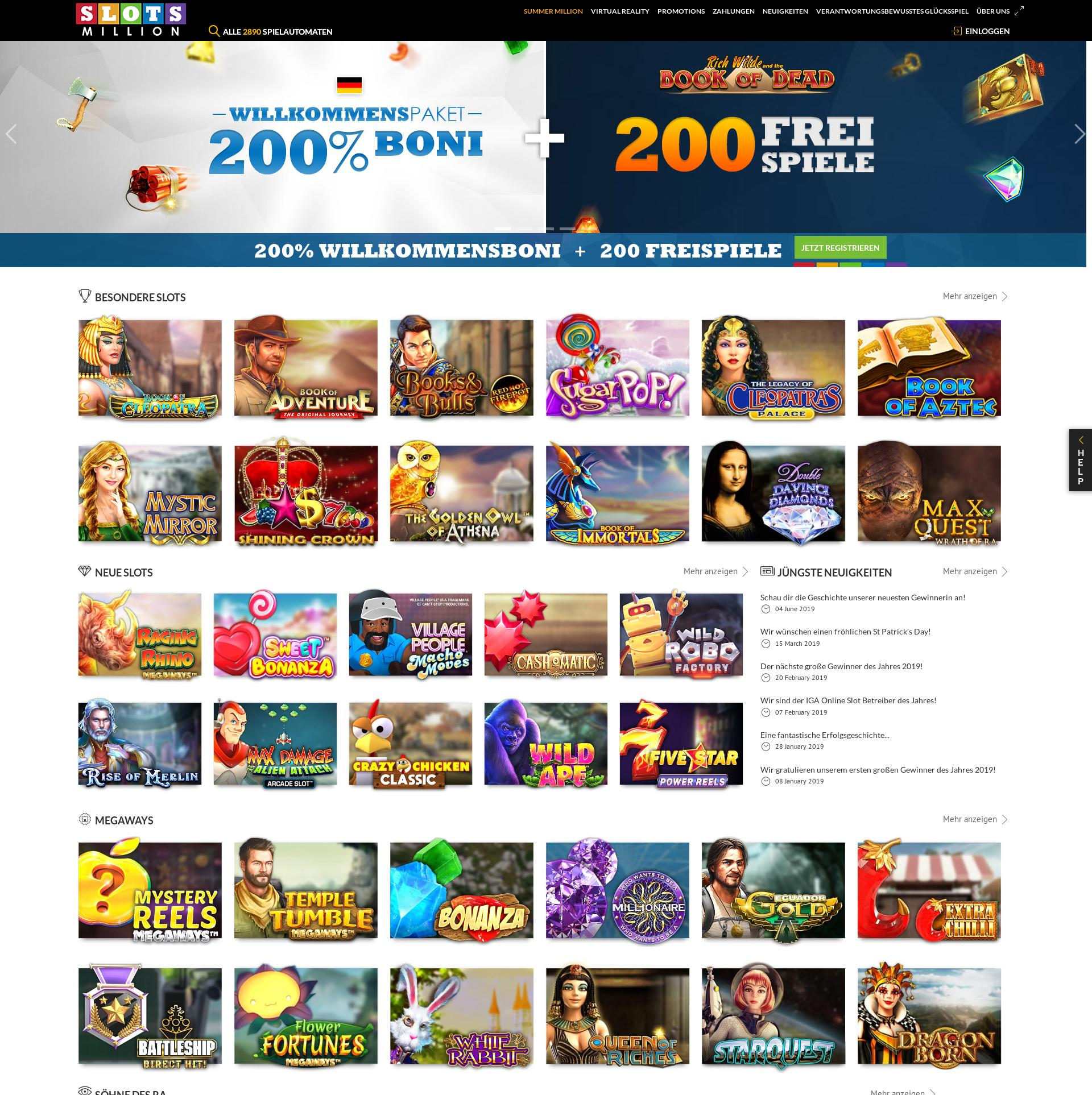 Casino Bildschirm Lobby 2019-06-26 zum Deutschland