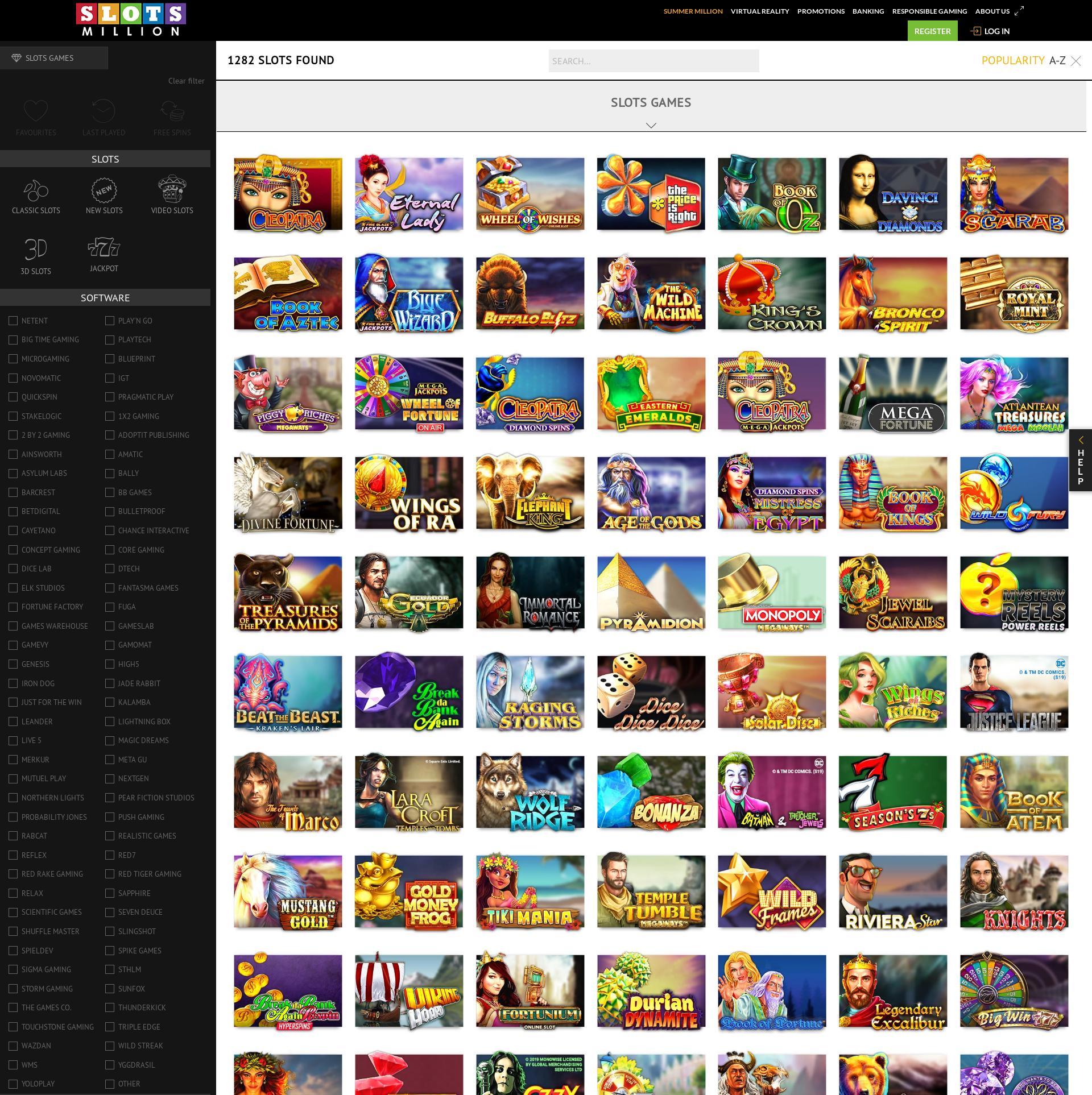 Casino skjerm Lobby 2020-06-02 til Storbritannia