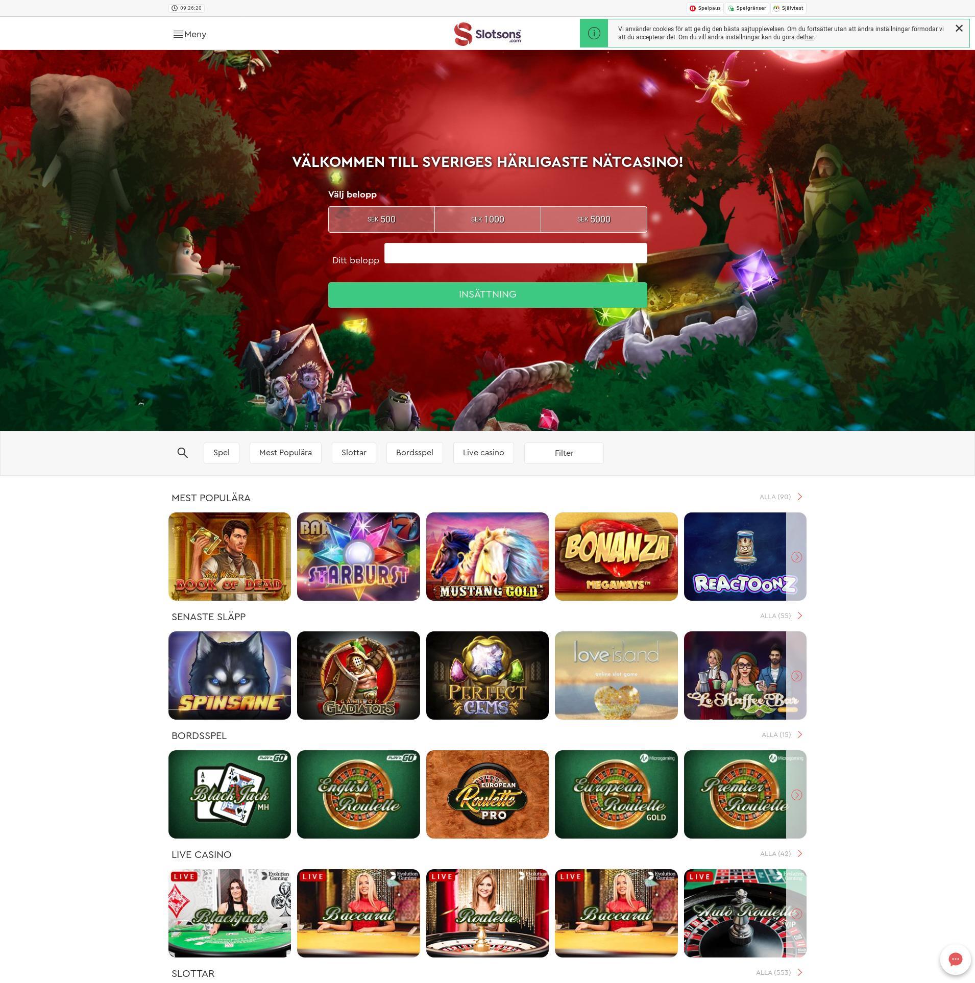 Casino skärm Lobby 2019-06-12 för Sverige