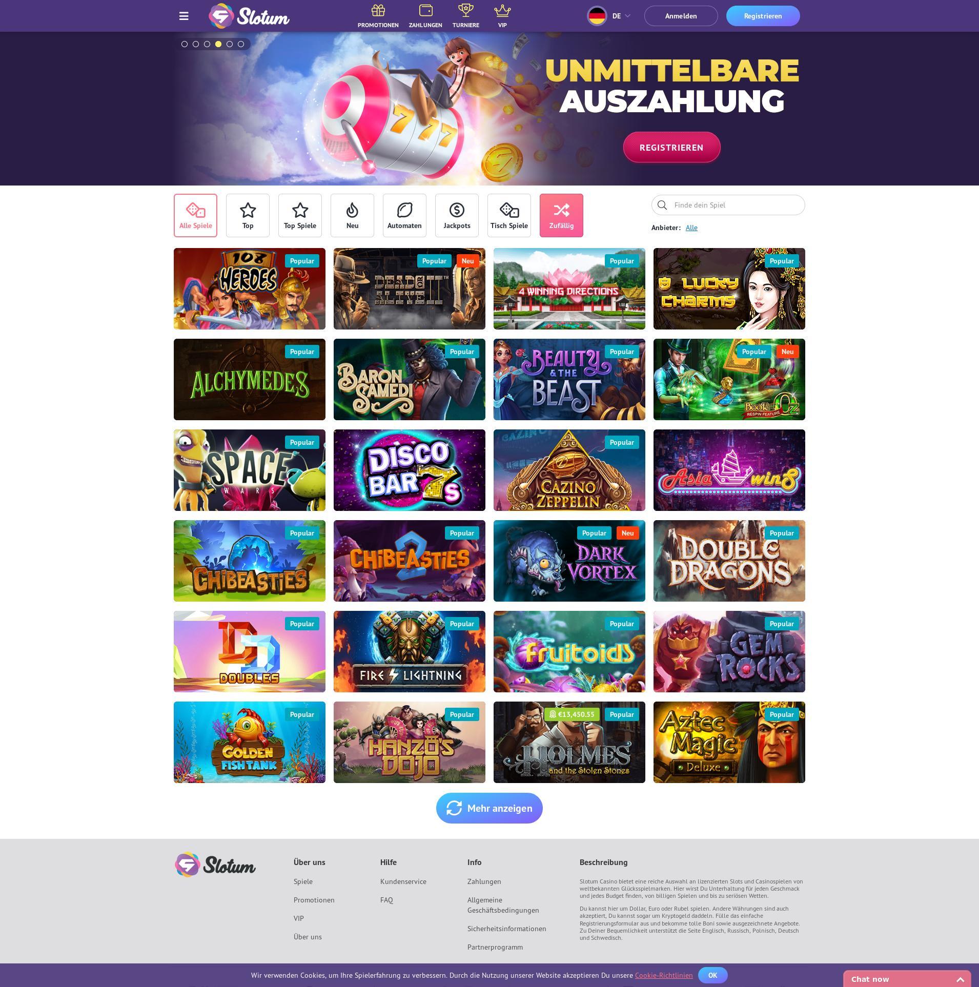 Casino Bildschirm Lobby 2019-07-22 zum Deutschland