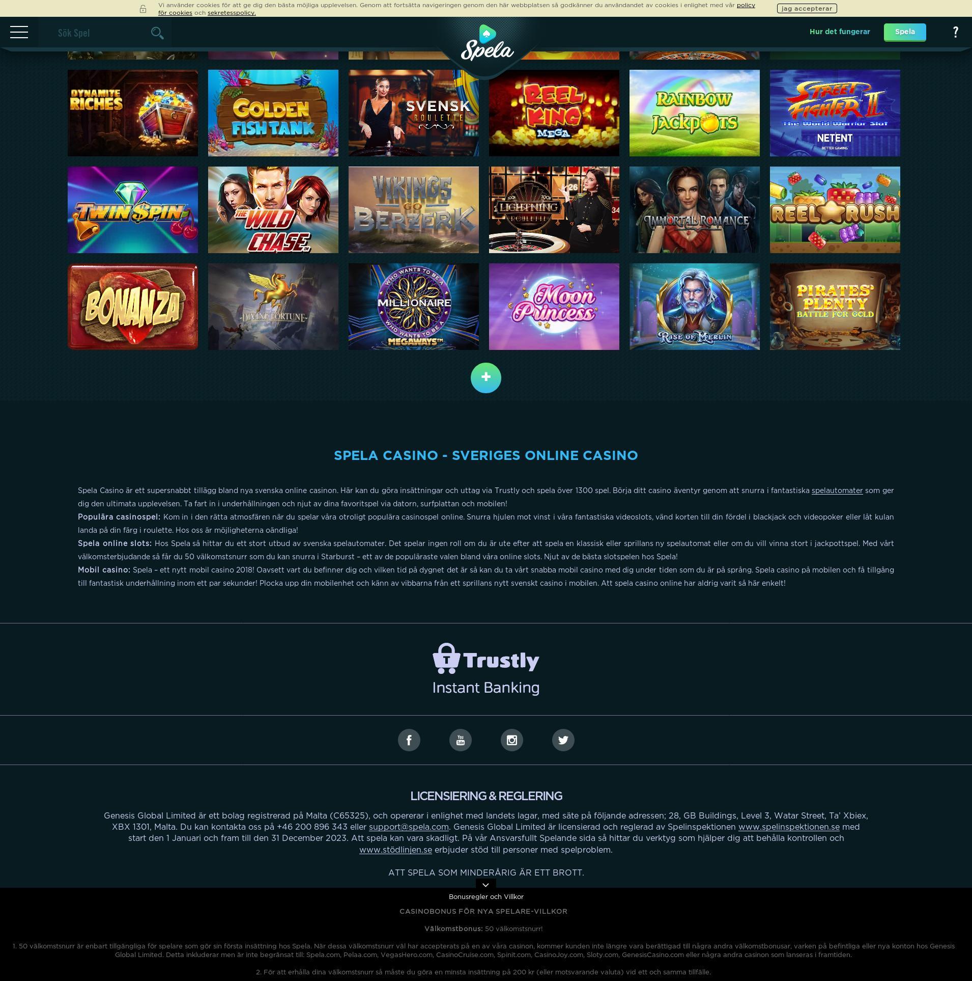 Casino skärm Lobby 2020-05-24 för Sverige
