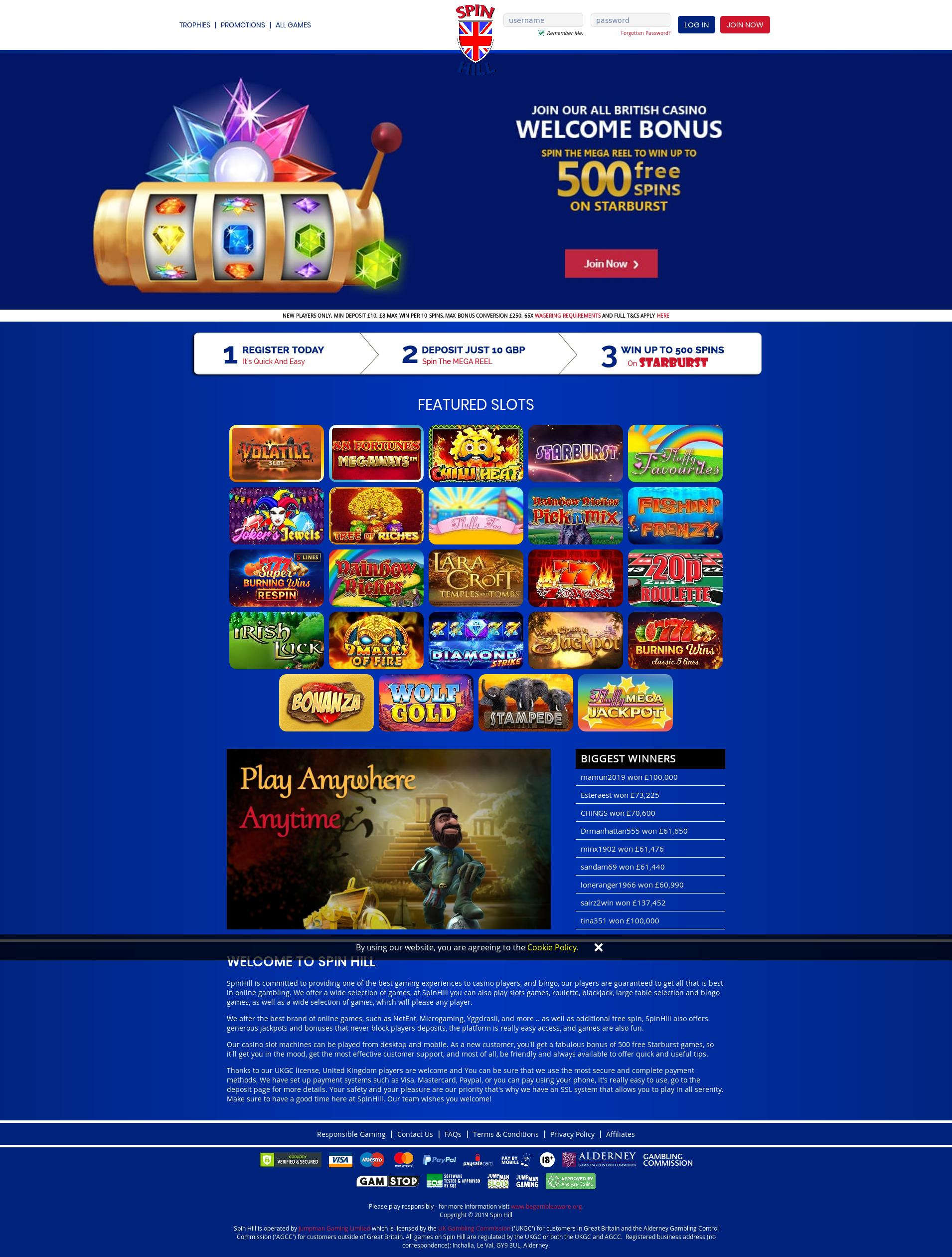Casino screen Lobby 2019-11-19 for United Kingdom