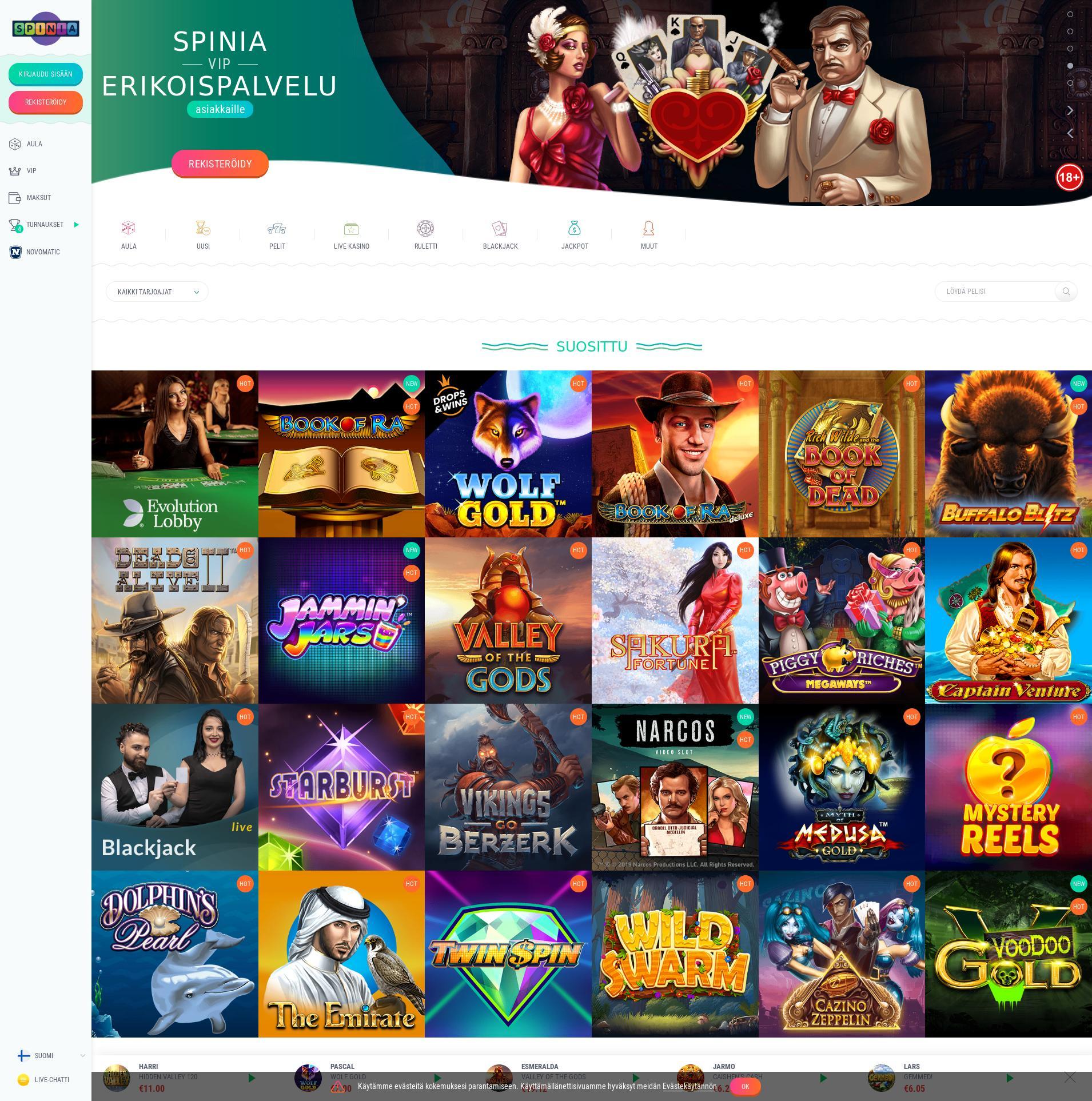 Casino-näyttö Lobby 2020-03-31 varten Suomi