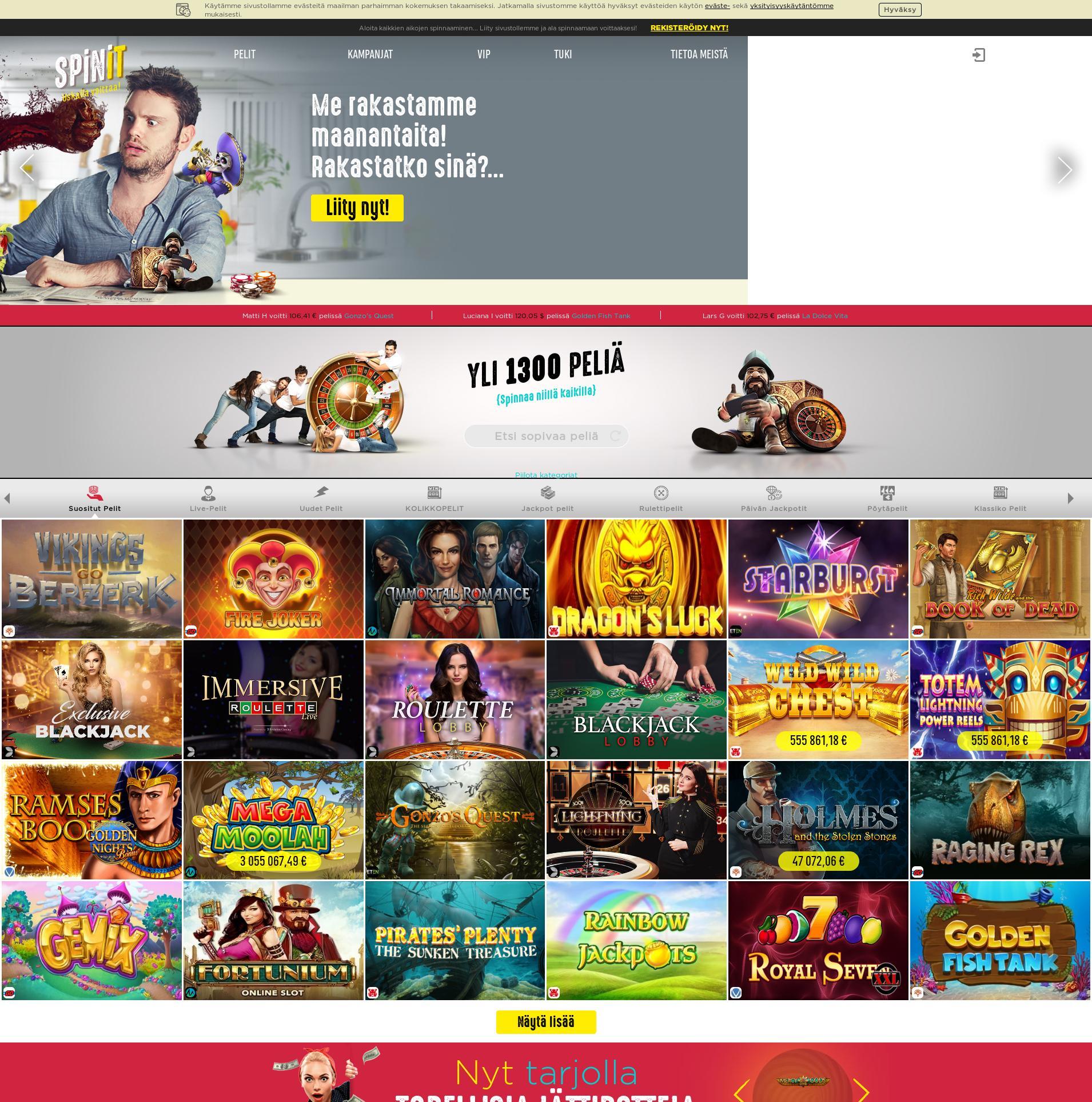 Casino-näyttö Lobby 2019-07-15 varten Suomi