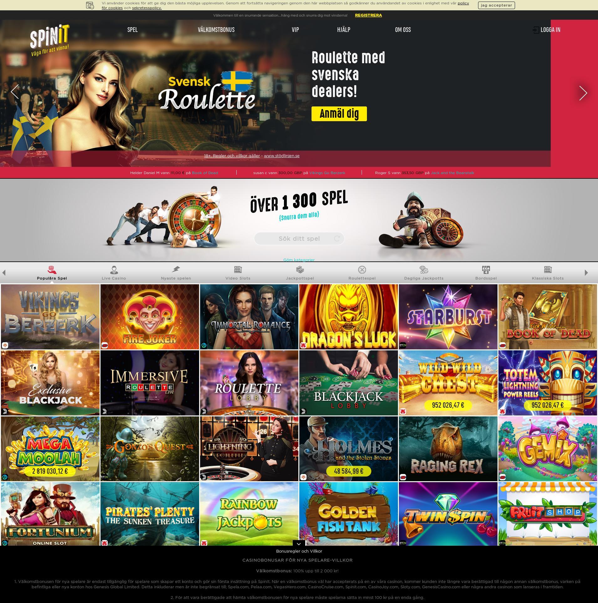 Casino skärm Lobby 2019-08-17 för Sverige
